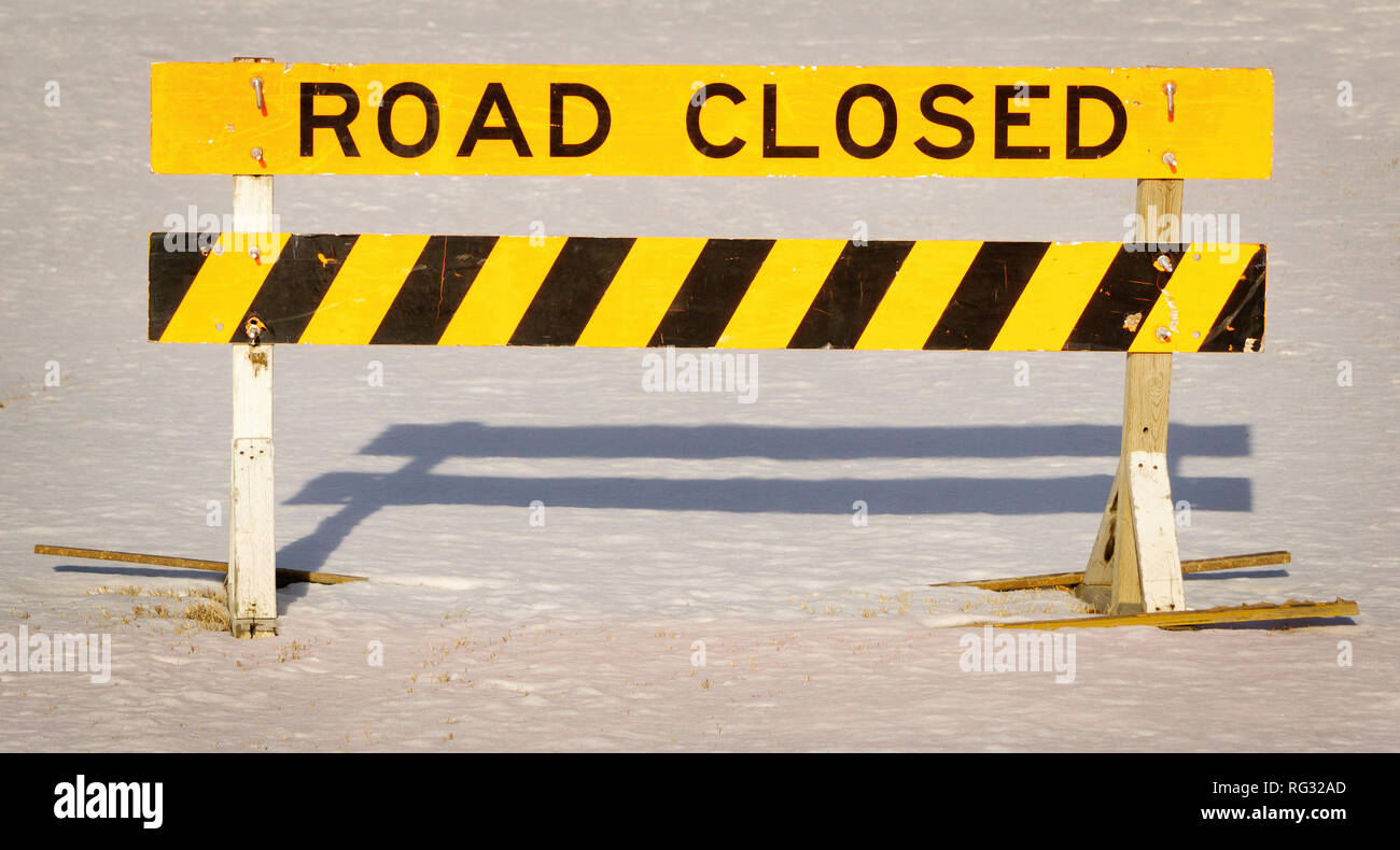 Road Closed Alberta Canada - Stock Image