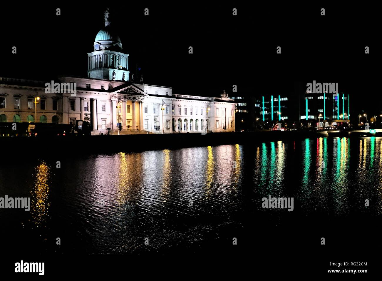 The Custom House is a neoclassical 18th century building in Dublin, Ireland which houses the Department of Housing, Planning and Local Government. - Stock Image
