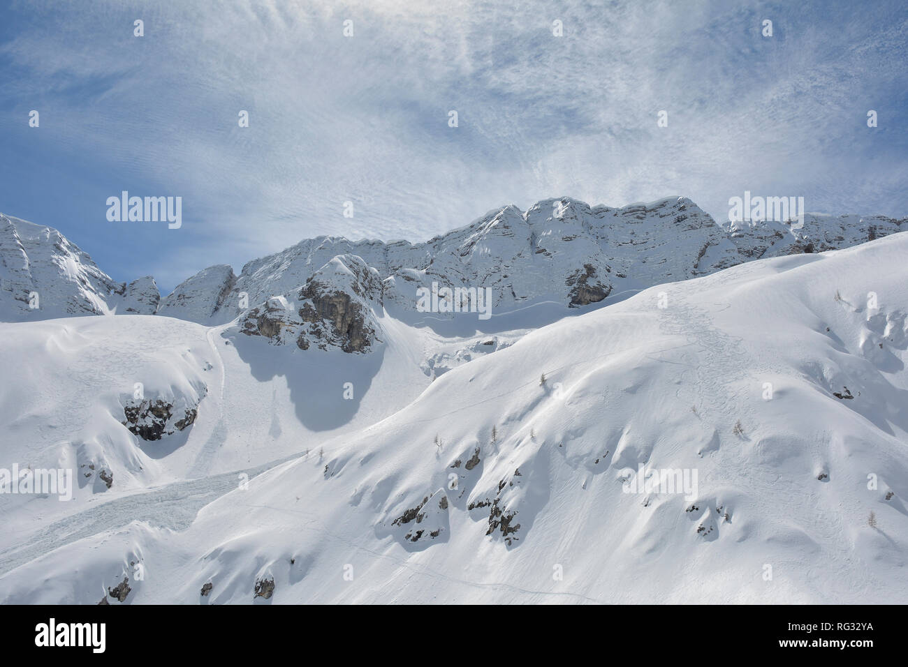 The slopes of Sella Nevea at the end of the ski season in early April, Friuli Venezia Giulia, north east Italy Stock Photo