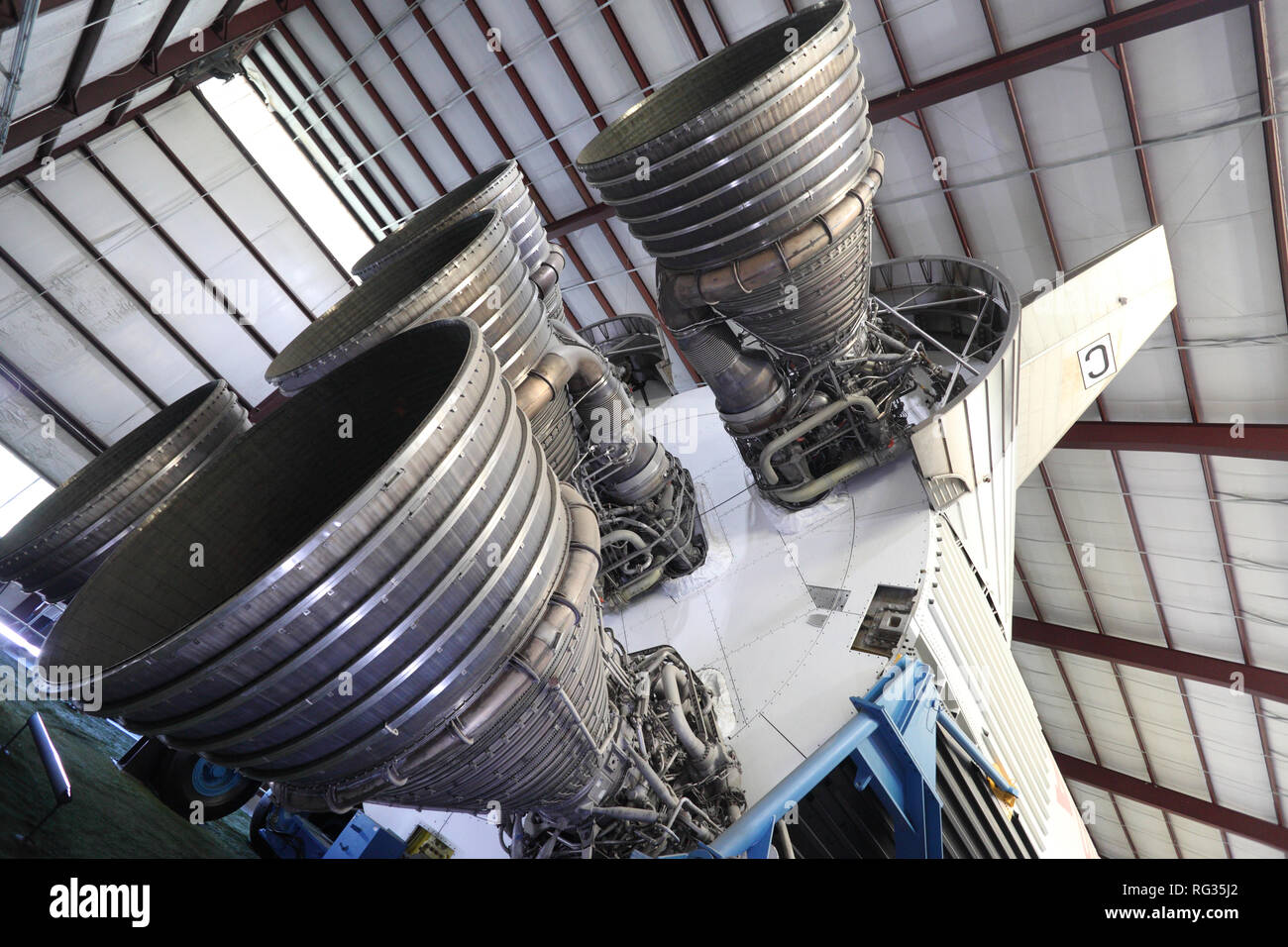 Saturn V F-1 rocket engines of the first stage - Stock Image