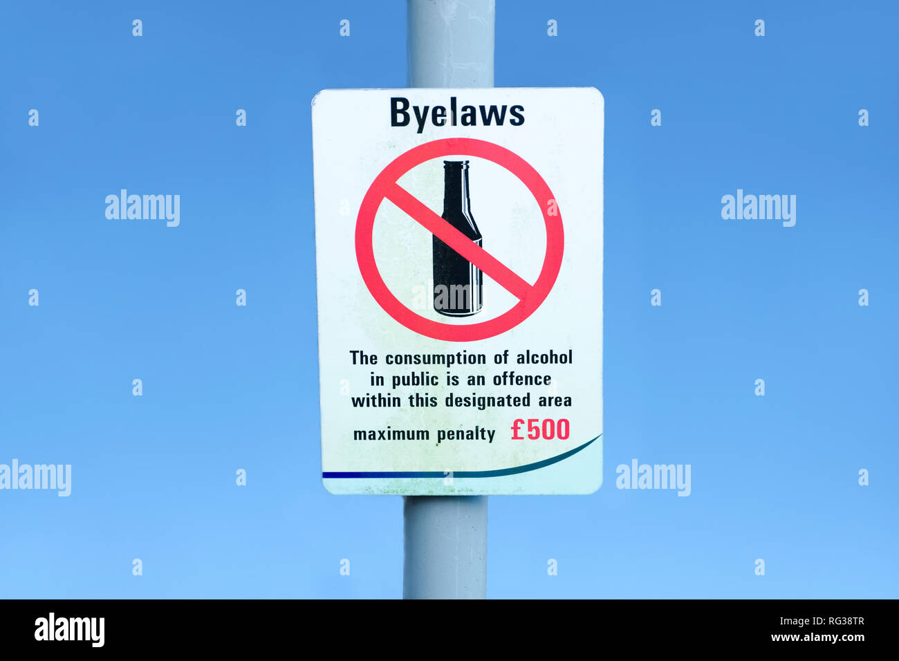 Alcohol consumption public offence fine penalty sign - Stock Image