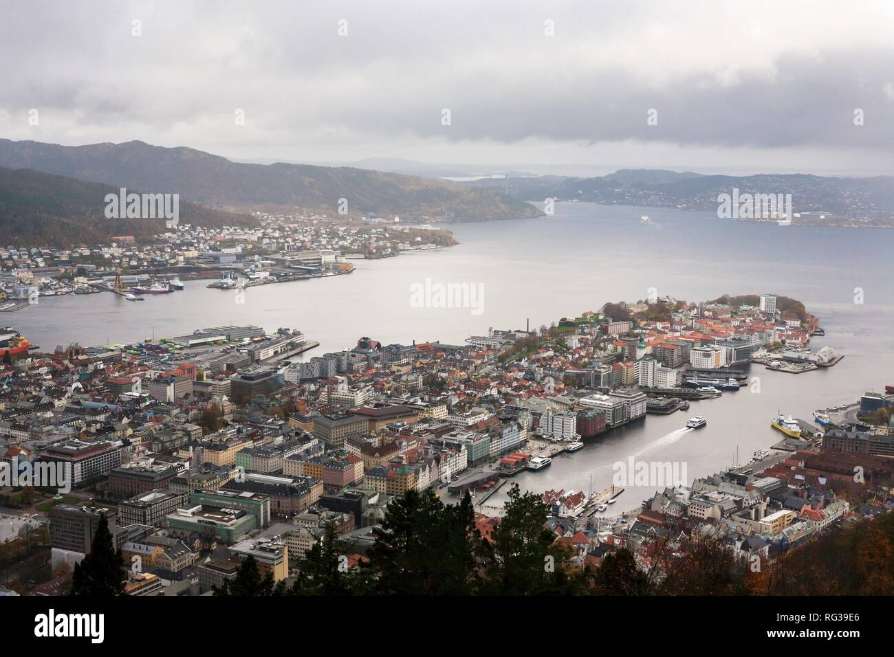 View over Bergen, Norway, from Mount Fløyen - Stock Image