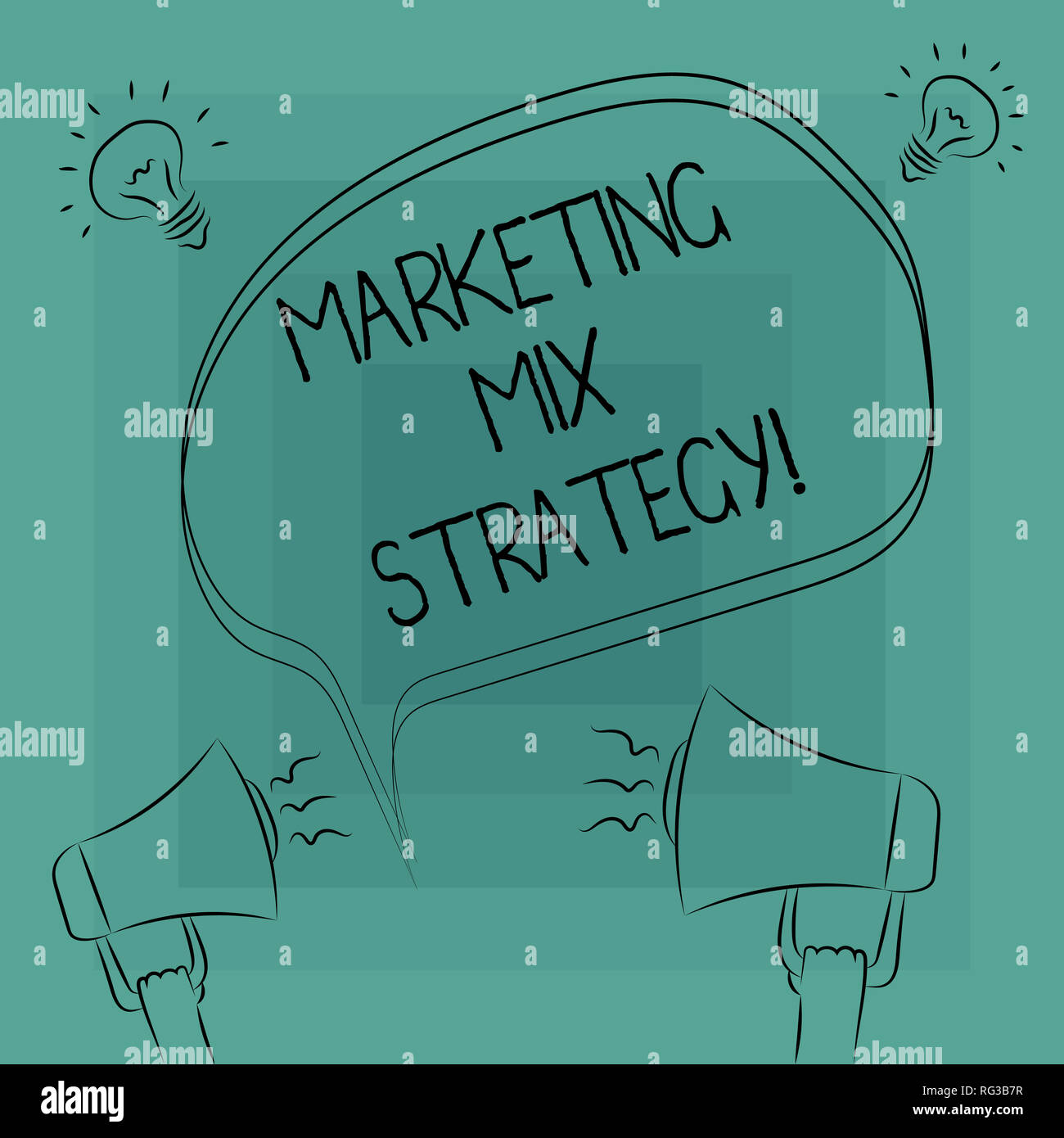 Conceptual hand writing showing Marketing Mix Strategy. Business photo text Set of governable tactical marketing tool company use Freehand Outline Ske Stock Photo