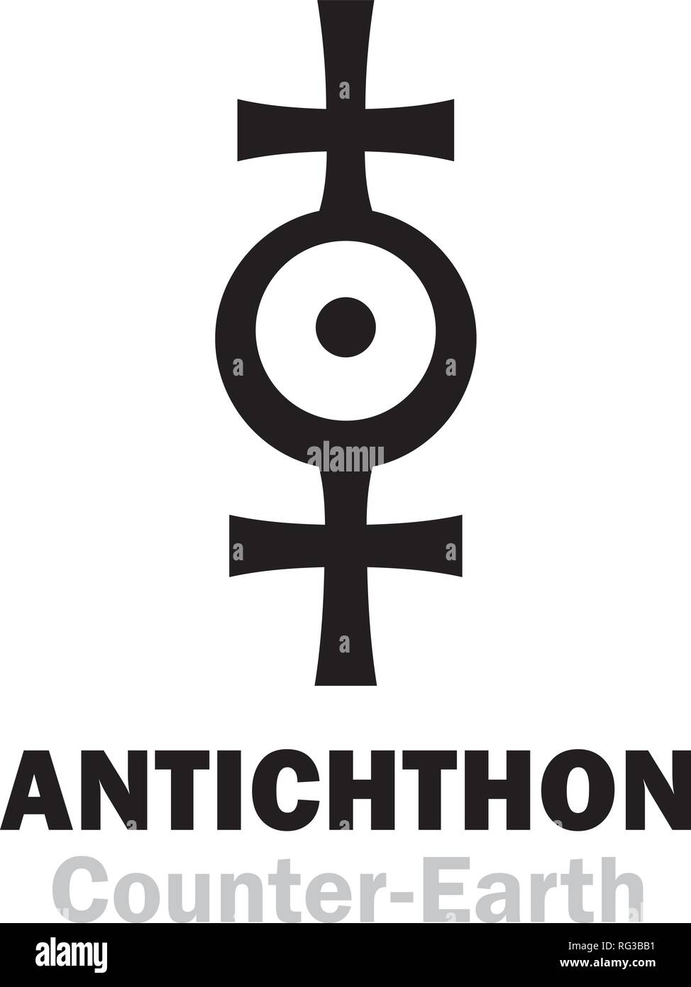 Astrology Alphabet: ANTICHTHON / Counter-Earth (also known as: Gloria, Horus, Vulcan) — «Twin Earth», Earth analog, hypothetical planet. Sign / symbol. Stock Vector