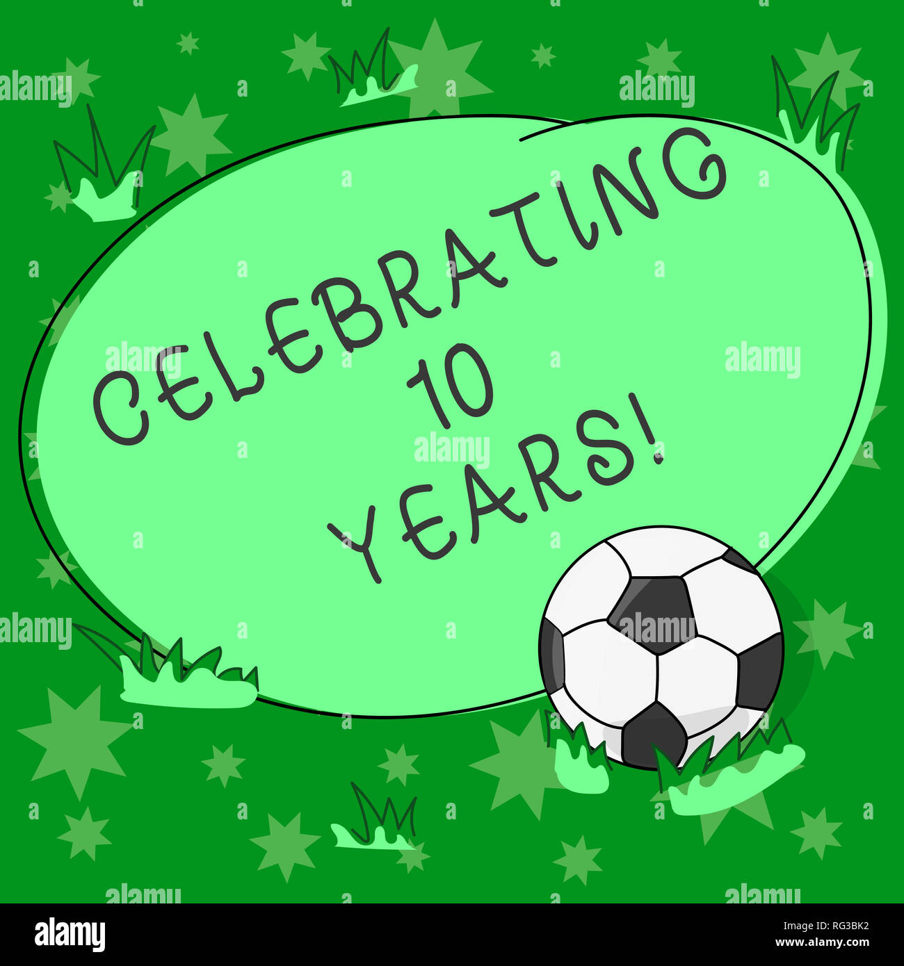 Writing note showing Celebrating 10 Years. Business photo showcasing Commemorating a special day Decennial anniversary Soccer Ball on the Grass and Bl Stock Photo
