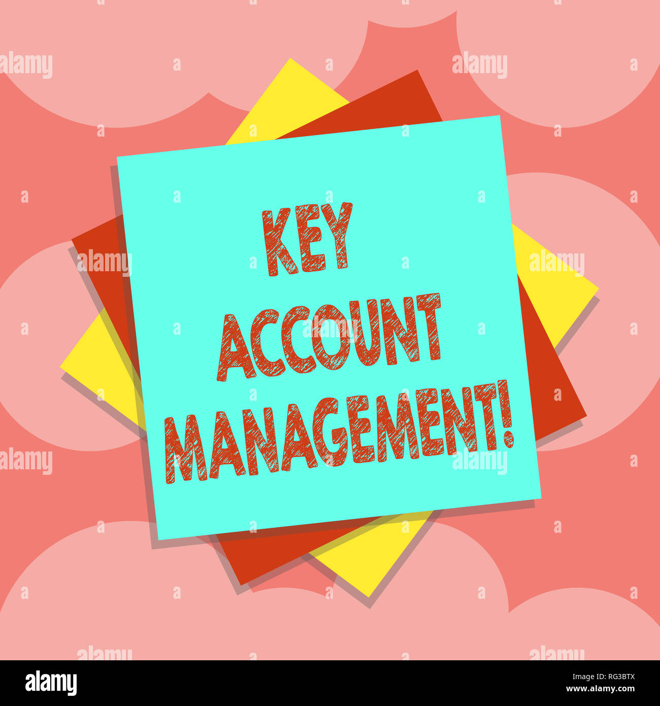 Writing note showing Key Account Management. Business photo showcasing Selling products to big customers and clients Multiple Layer of Sheets Color Pa Stock Photo