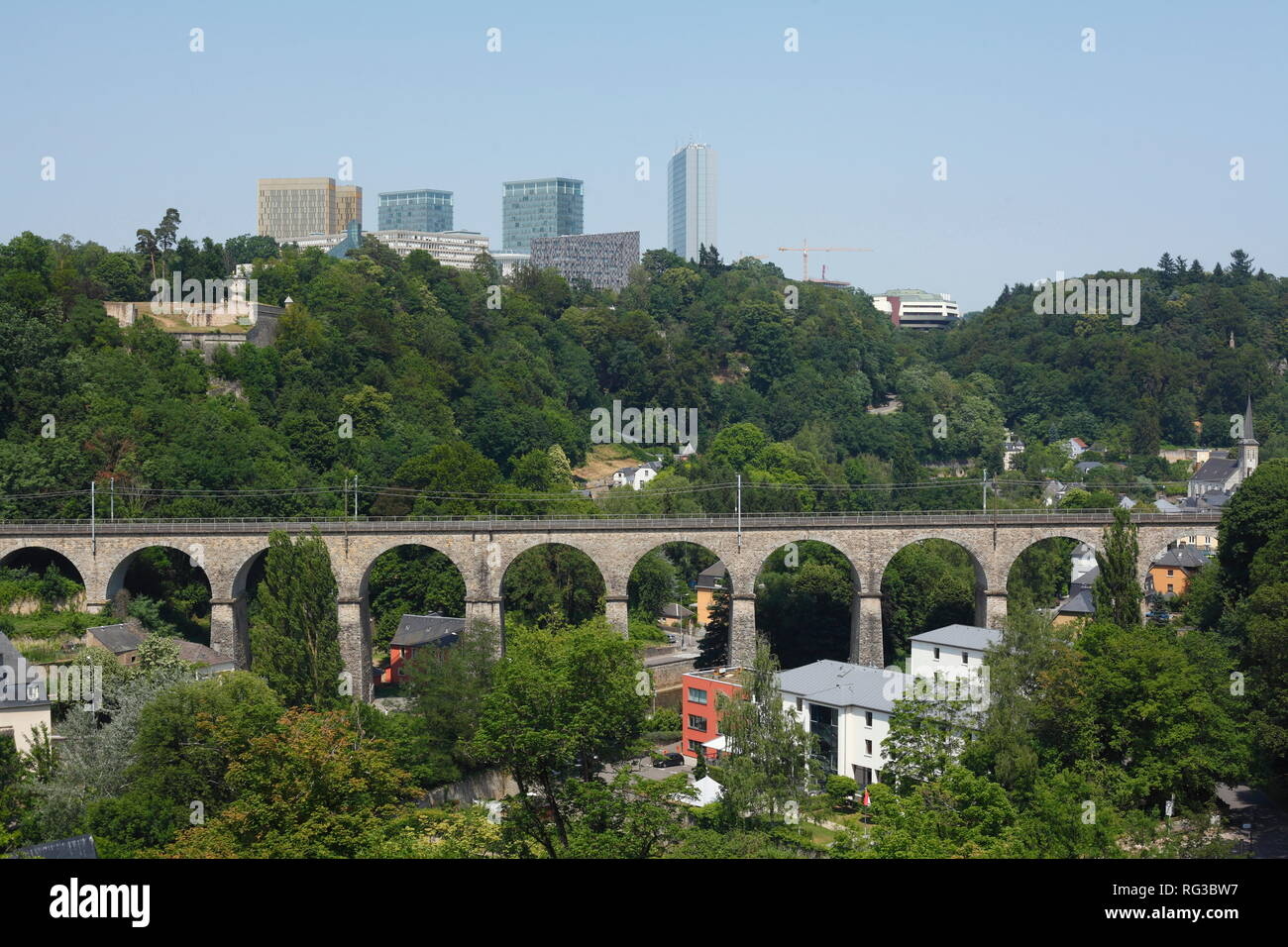 Viaduct in the Grund district, EU buildings, Kirchberg, European Centre, lower town, city Luxembourg, Luxembourg, Europe - Stock Image