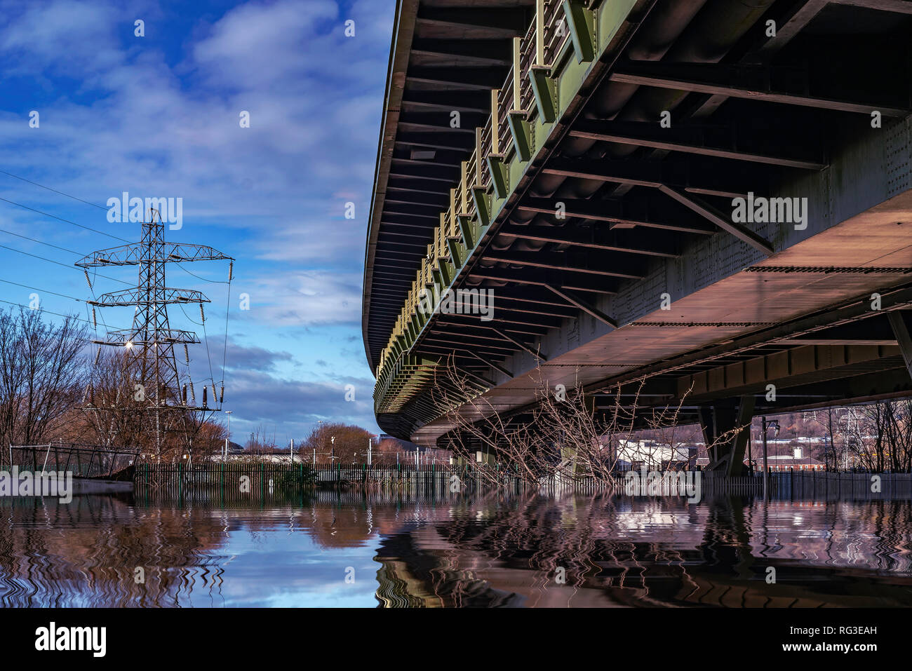The Tinsley Viaduct, Junction 34, M1 Motorway, Sheffield, South Yorkshire, UK - Stock Image