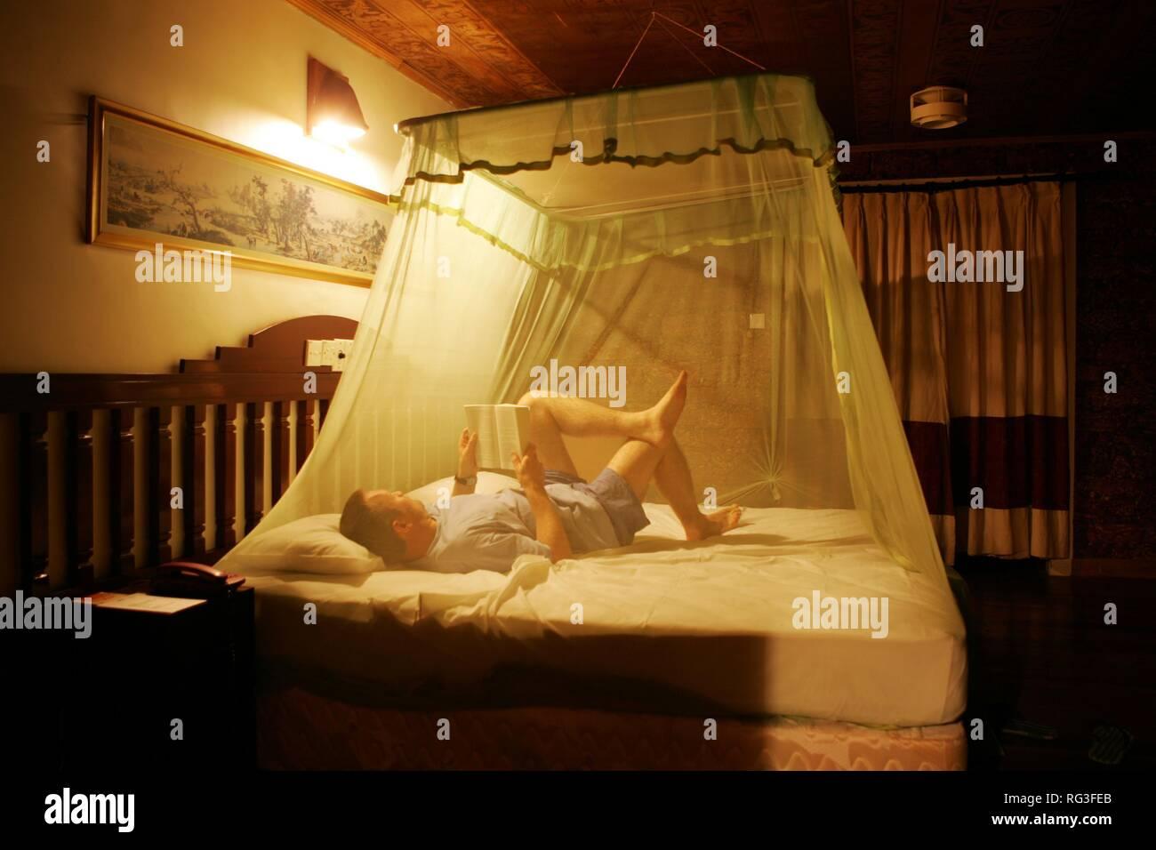LKA, Sri Lanka : Siddhalepa Ayurveda Resort , hotel room with mosquito net. Stock Photo
