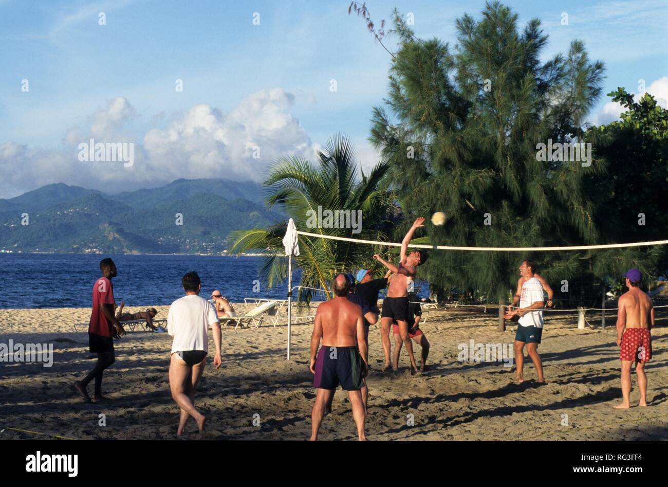 GRD, Grenada: the La Source hotel near St. George's, beach volleyball. - Stock Image