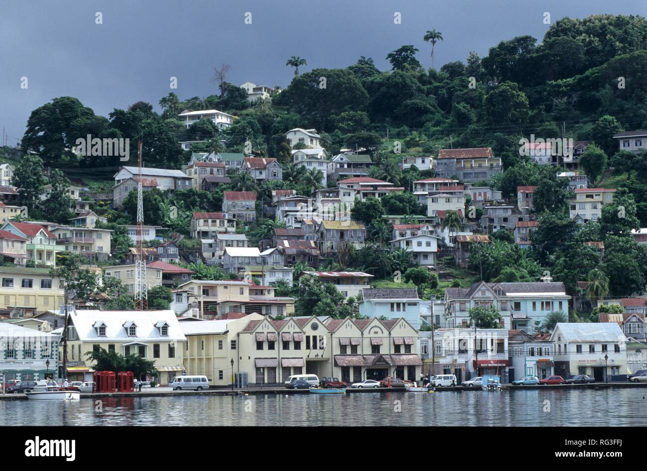 GRD, Grenada: the skyline of St. George's, the capital of Grenada. - Stock Image