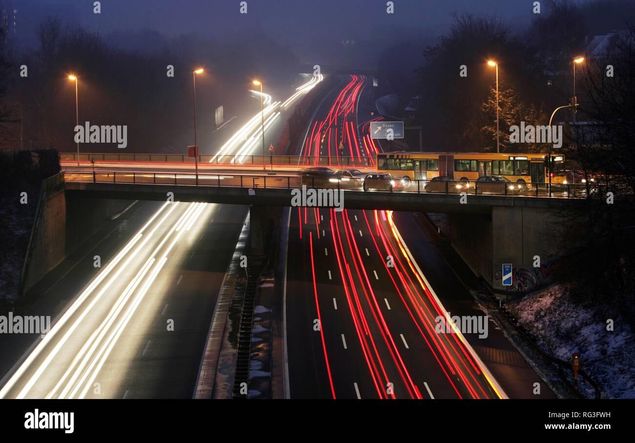DEU, Germany : Essen, motorway Autobahn A52. Rushhour in the evening. Stock Photo
