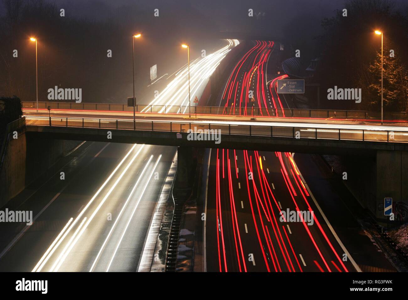DEU, Germany : Essen, motorway Autobahn A52. Rushhour in the evening. Stock Photo