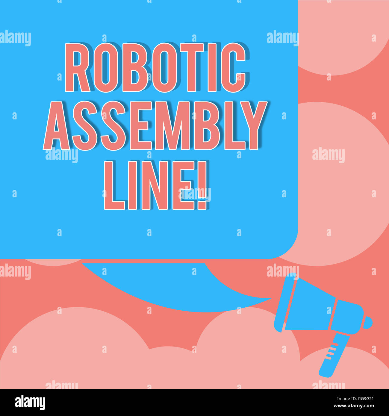 Writing note showing Robotic Assembly Line. Business photo showcasing use to increase production speed and consistency Color Silhouette of Blank Squar - Stock Image
