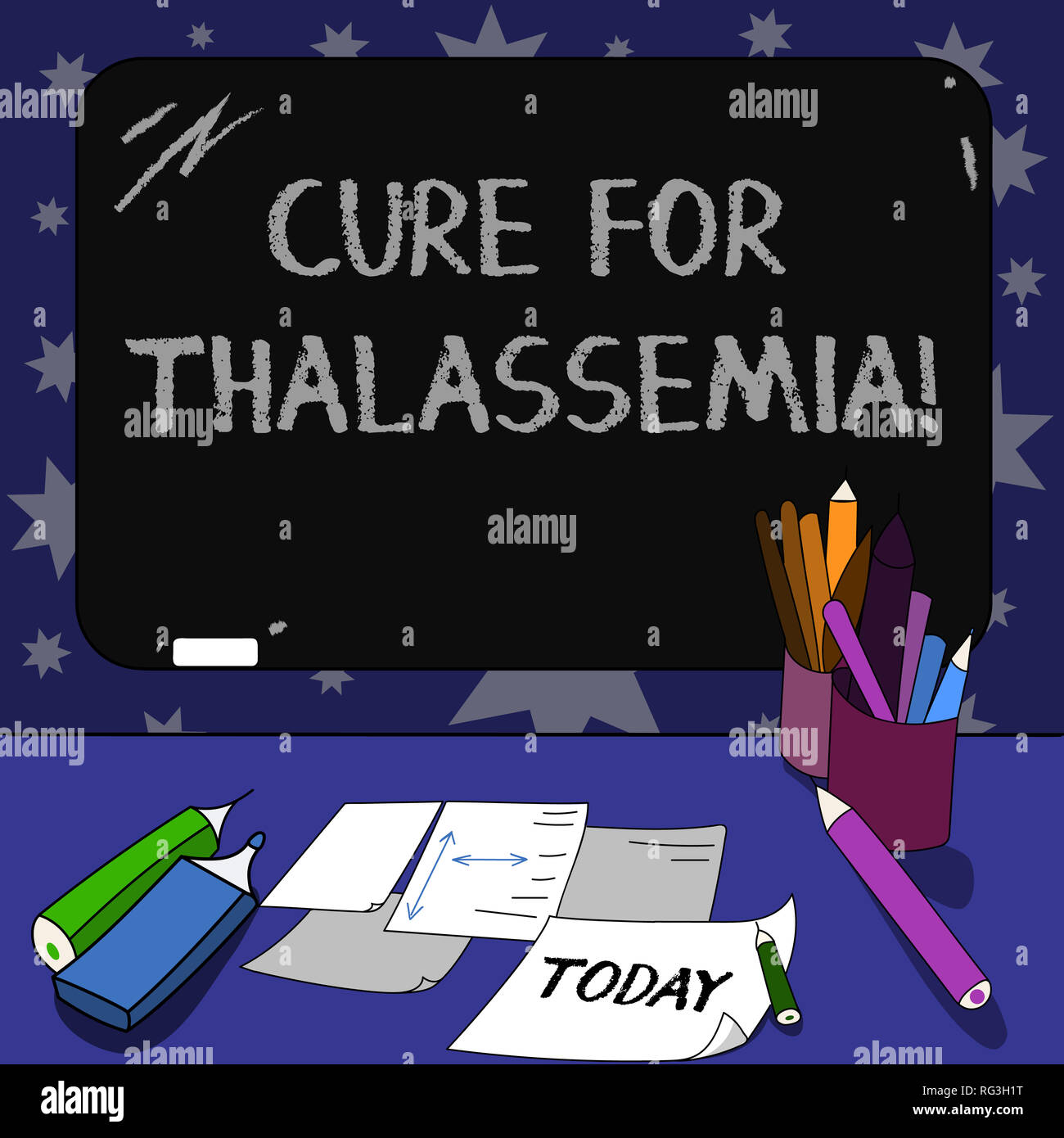 Conceptual hand writing showing Cure For Thalassemia. Business photo text Treatment needed for this inherited blood disorder Mounted Blackboard with C - Stock Image