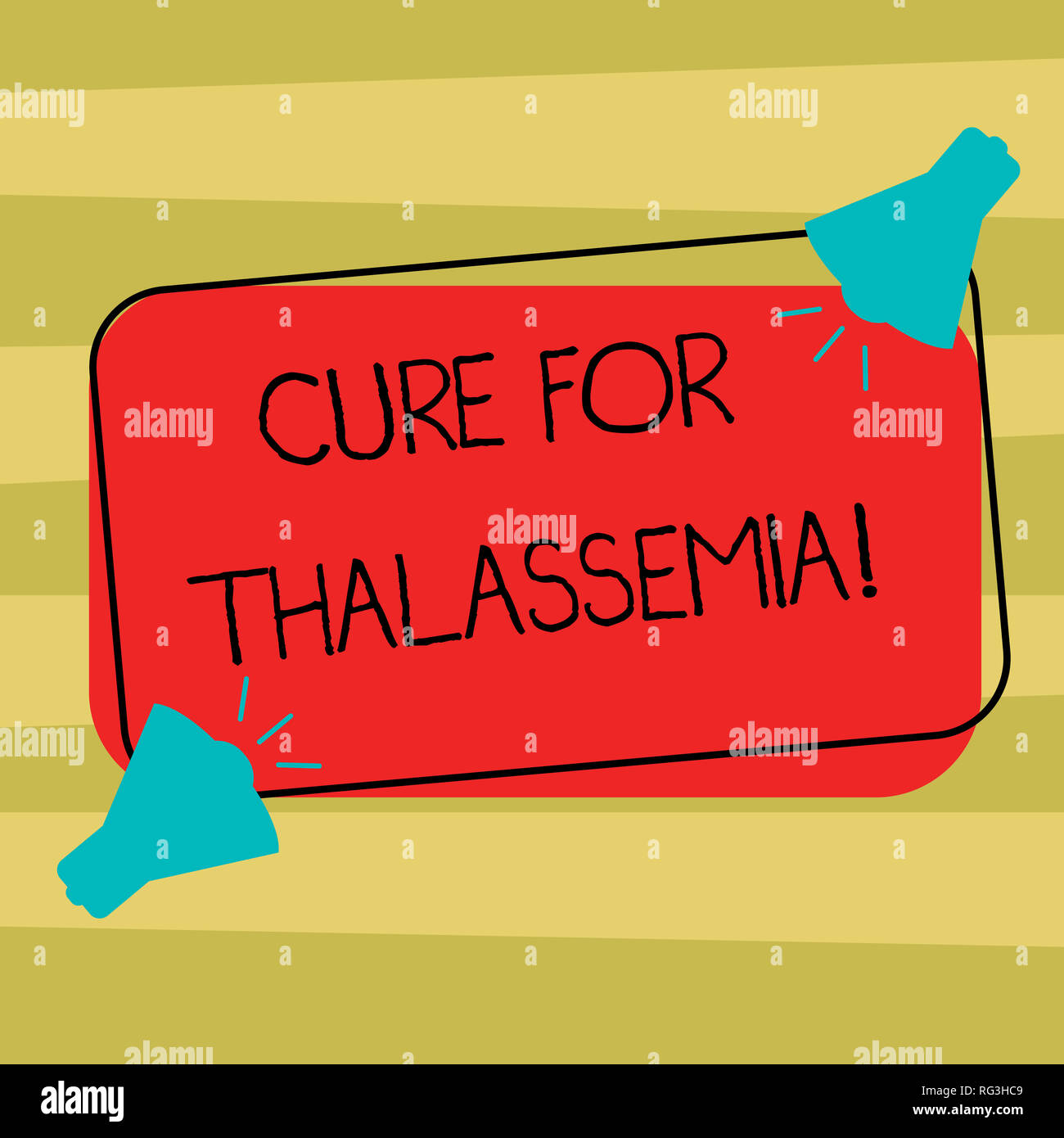 Text sign showing Cure For Thalassemia. Conceptual photo Treatment needed for this inherited blood disorder Two Megaphone with Sound icon on Blank Col - Stock Image