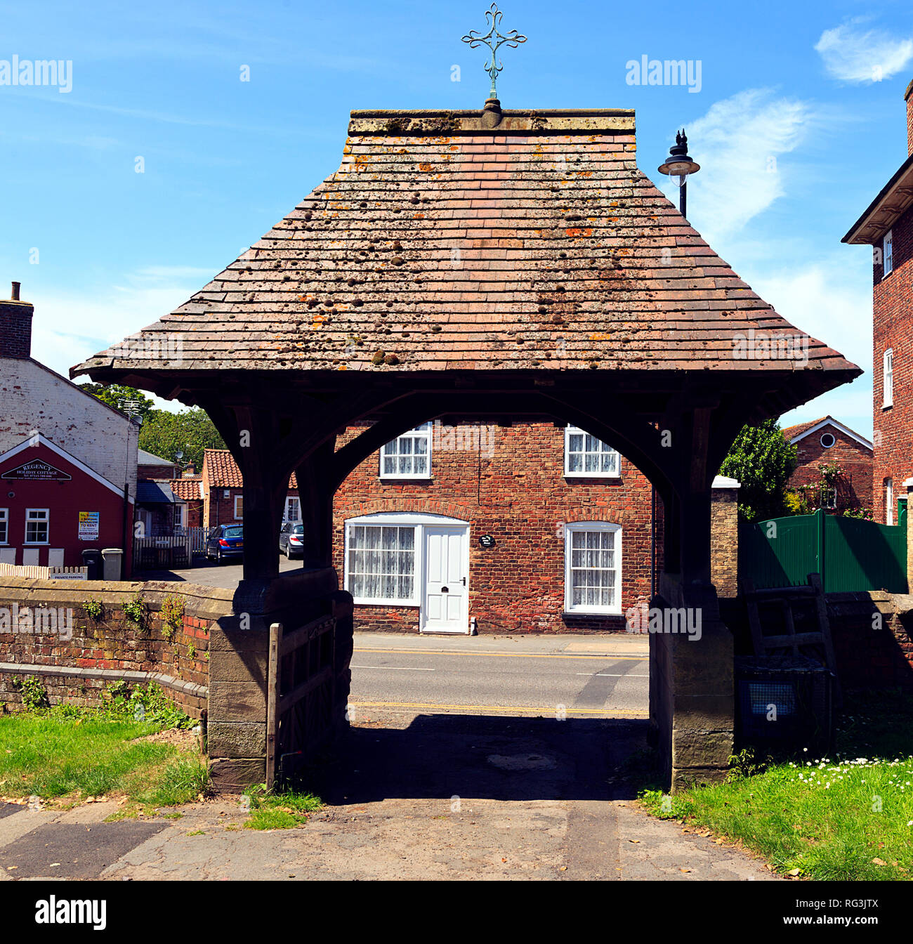 Lych Gate at St. Peter's & St. Pauls Church, Burgh le Marsh, Lincolnshire - Stock Image