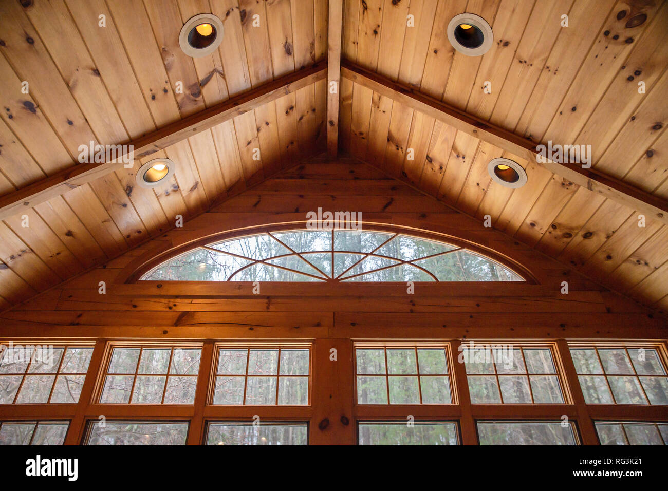 windows interior wood cabin - Stock Image