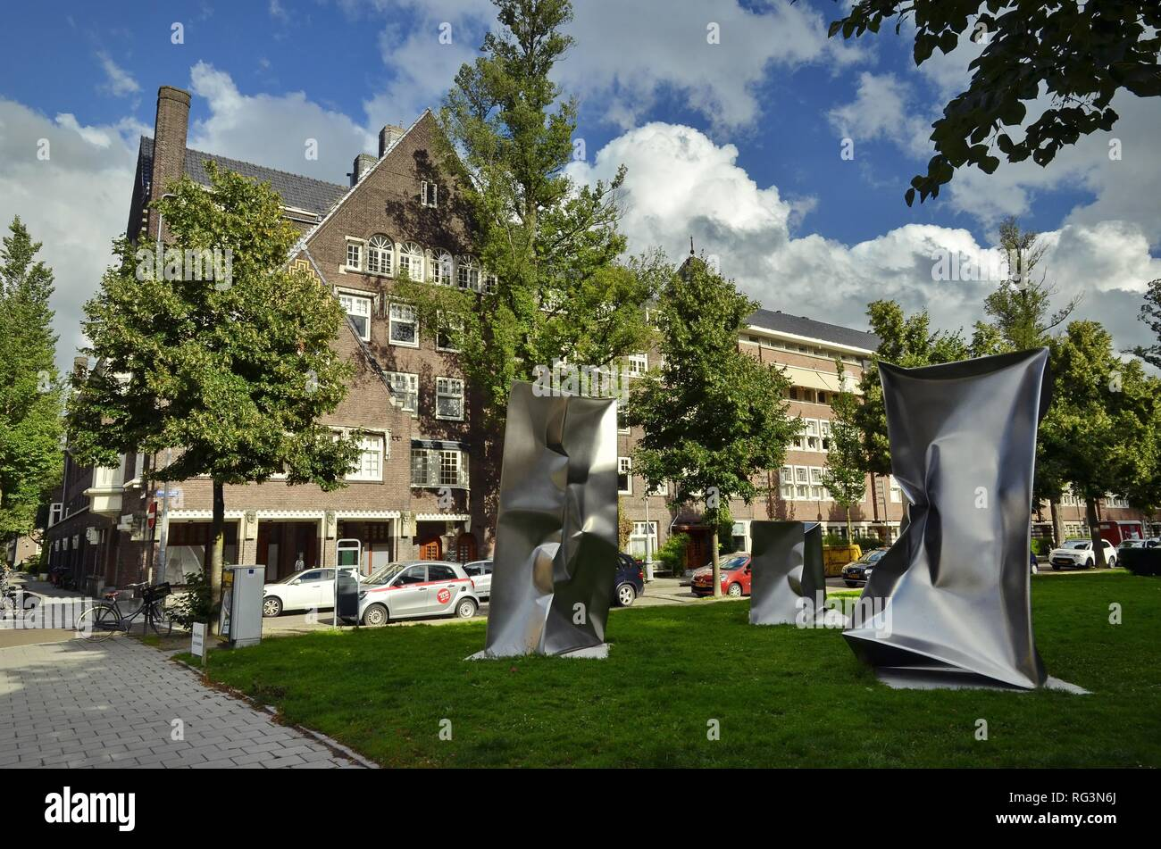 'Three of a kind' by Ewerdt Hilgemann on the Minervalaan, at the time of the Art Zuid annual outdoors event of modern art. - Stock Image