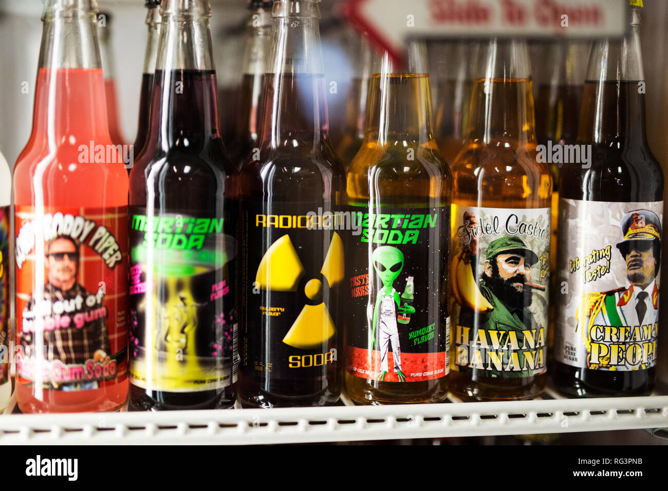 Unusual sodas for sale in glass bottles in a shop in Indianapolis, Indiana, USA. - Stock Image