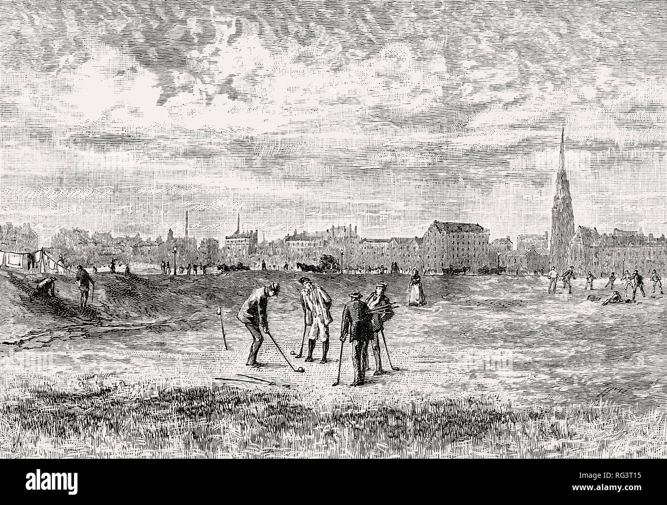Golfers at Leith Links, Edinburgh, Scotland, 19th century - Stock Image