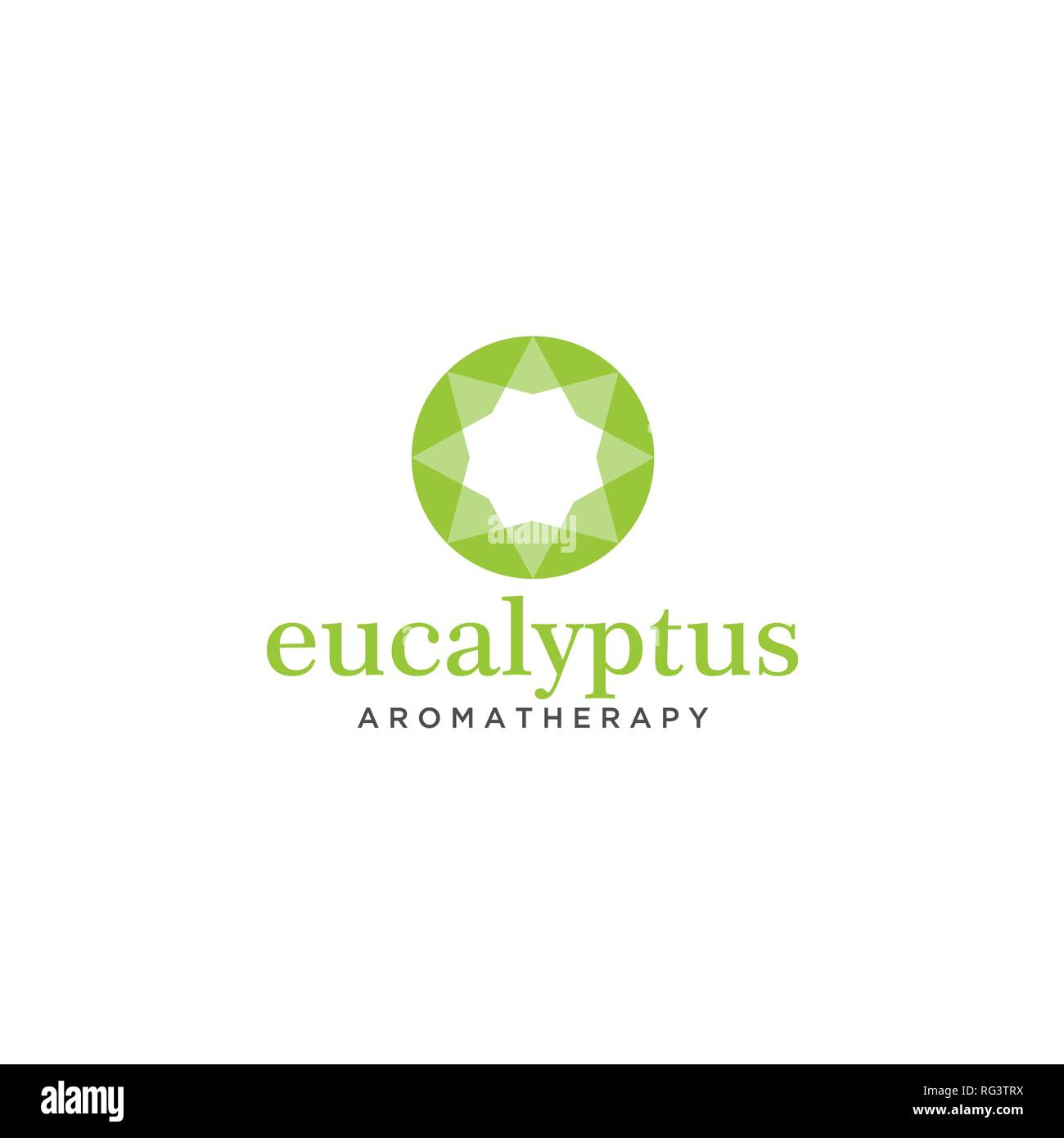 Simple Modern Flat Green Eucalyptus Round Logo Design Template - Stock Vector