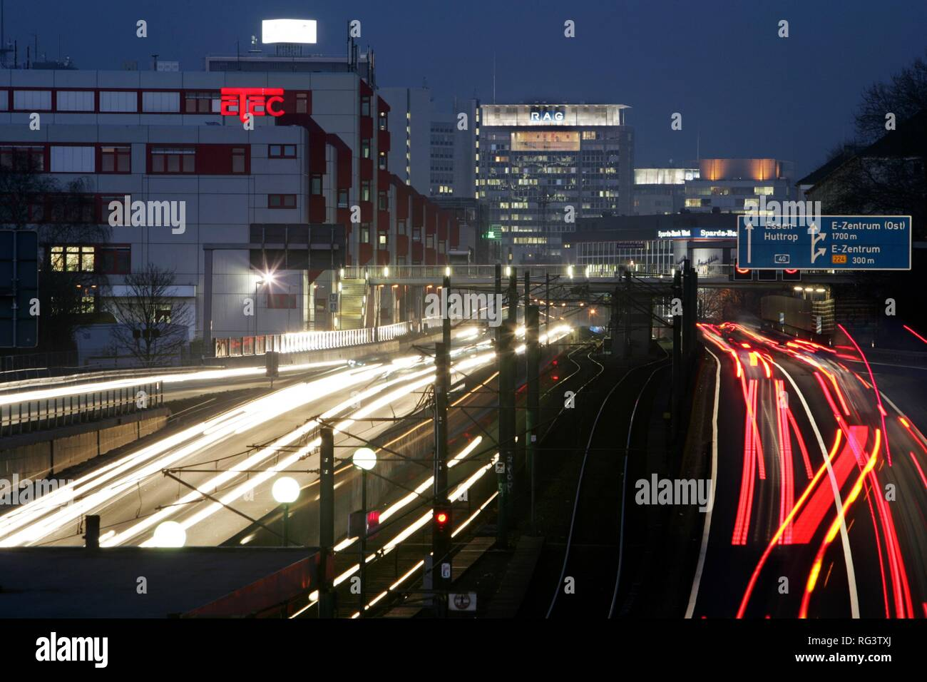 DEU, Federal Republic of Germany, Essen : Motorway A 40, city centr of Essen. Stock Photo