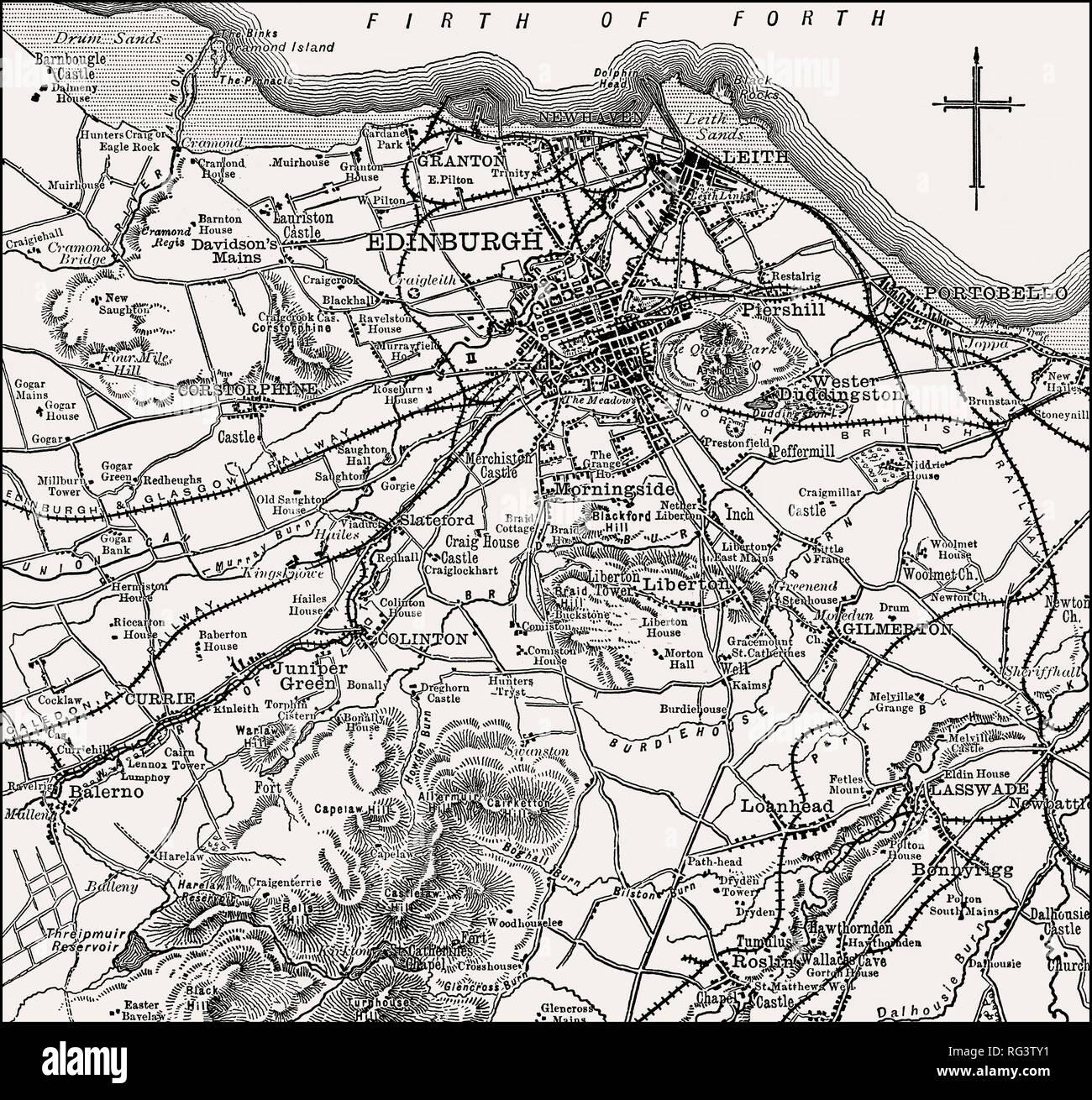 Map of Edinburgh and environs, Scotland, 19th century - Stock Image
