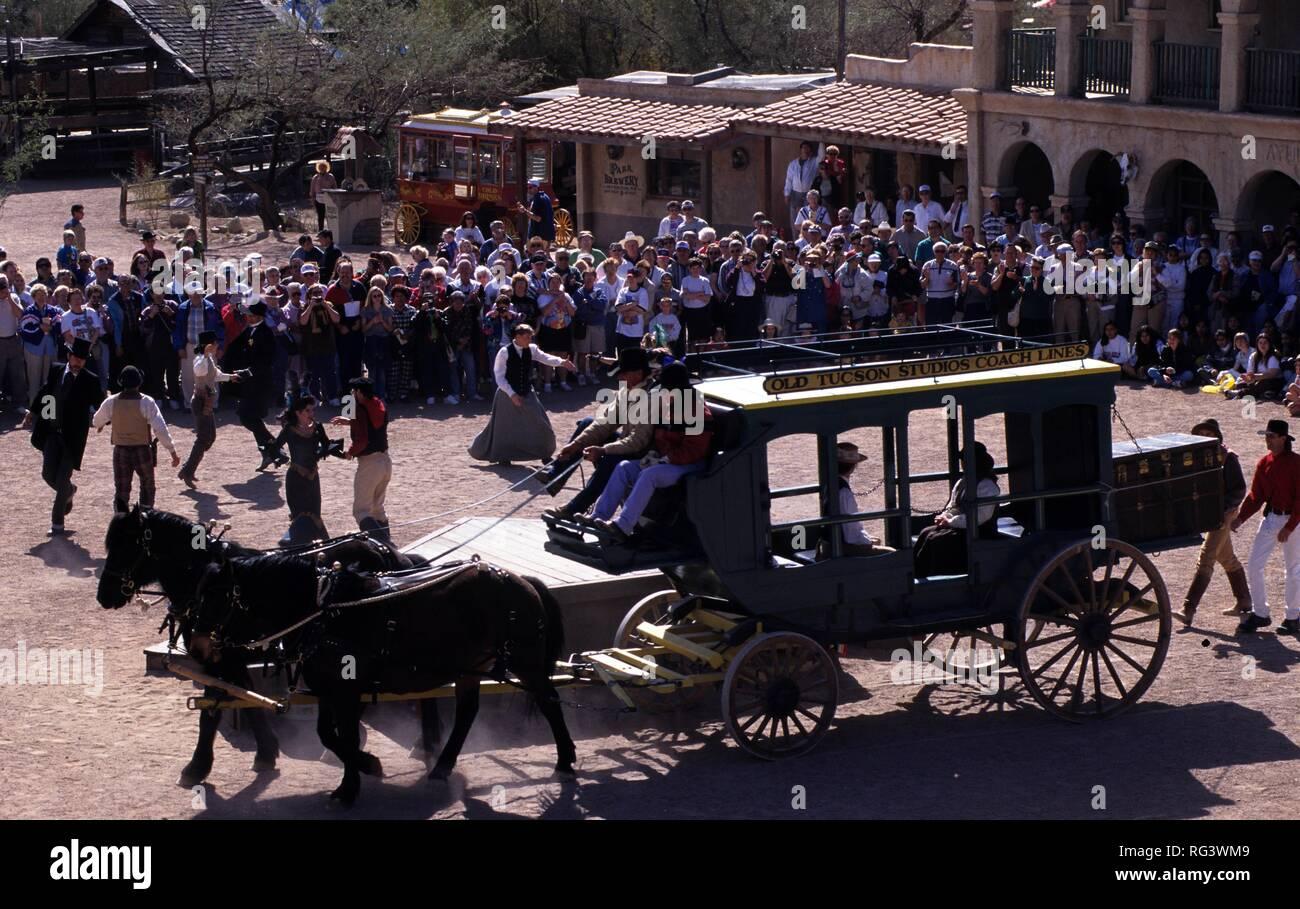 USA, United States of America, Arizona: Wild West theme park, 'Old Tucson Studios', former movie scene. Today western stunt show - Stock Image