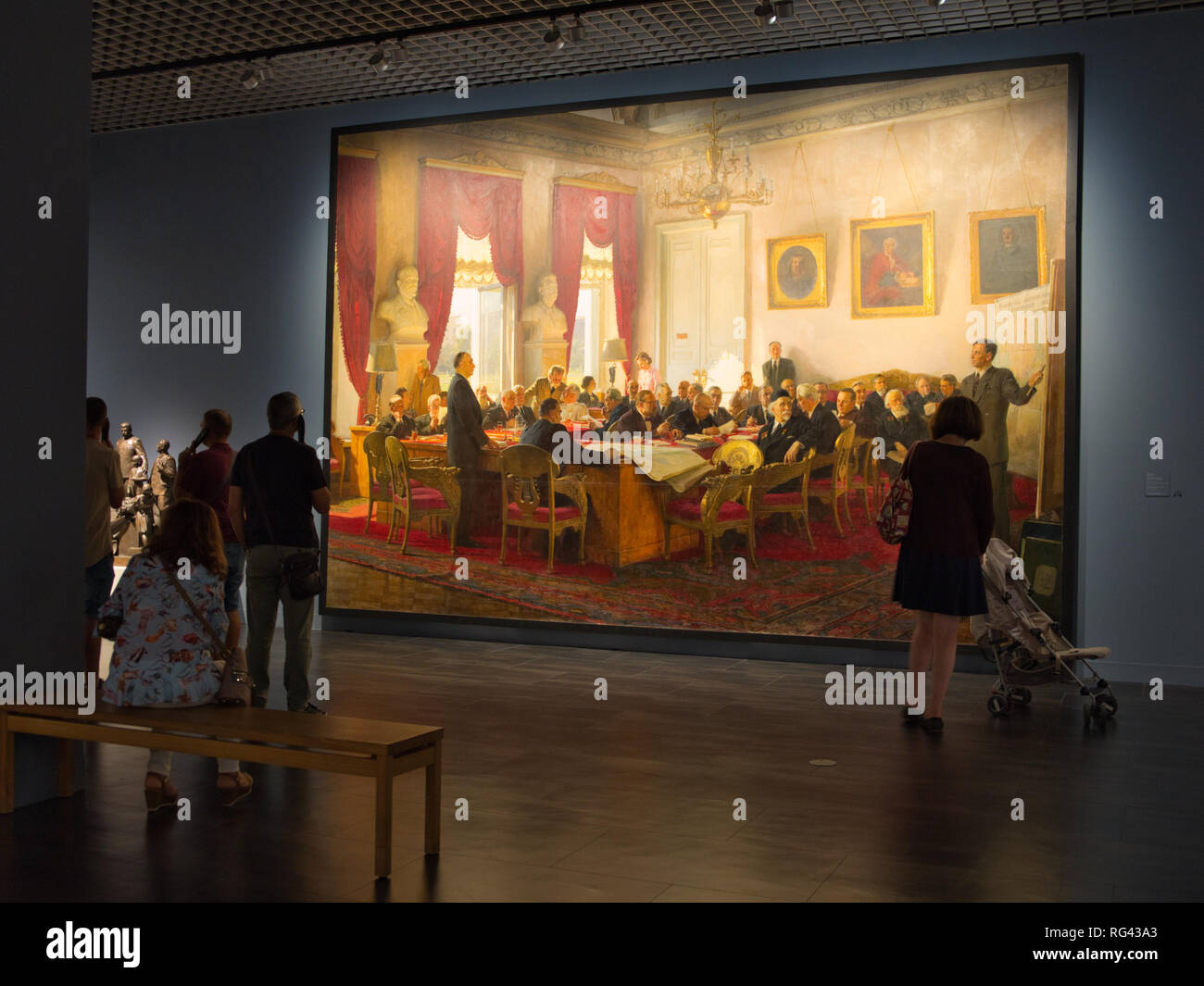 Session of the Presídium of the Academy of Sciences of the URSS. Oil on canvas. 399 x 585,5 cm. Russian Museum of Málaga, Spain. - Stock Image