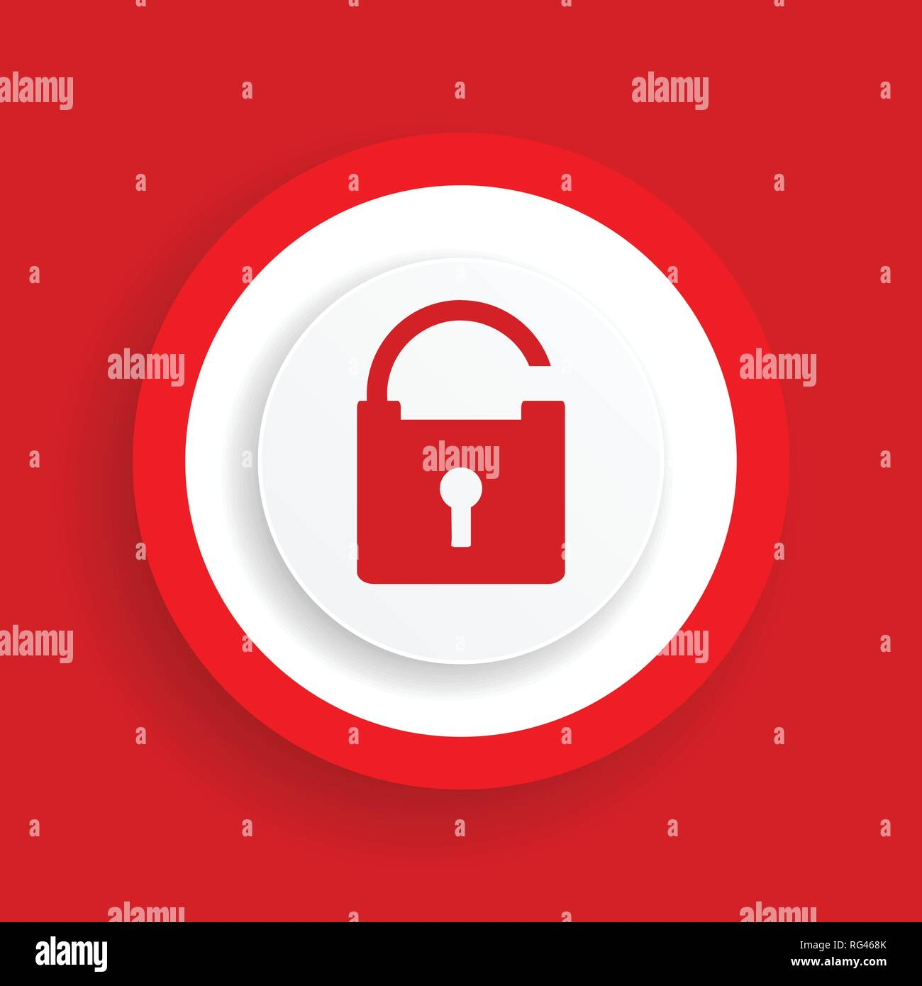 Open padlock vector icon, red secure sign - Stock Image