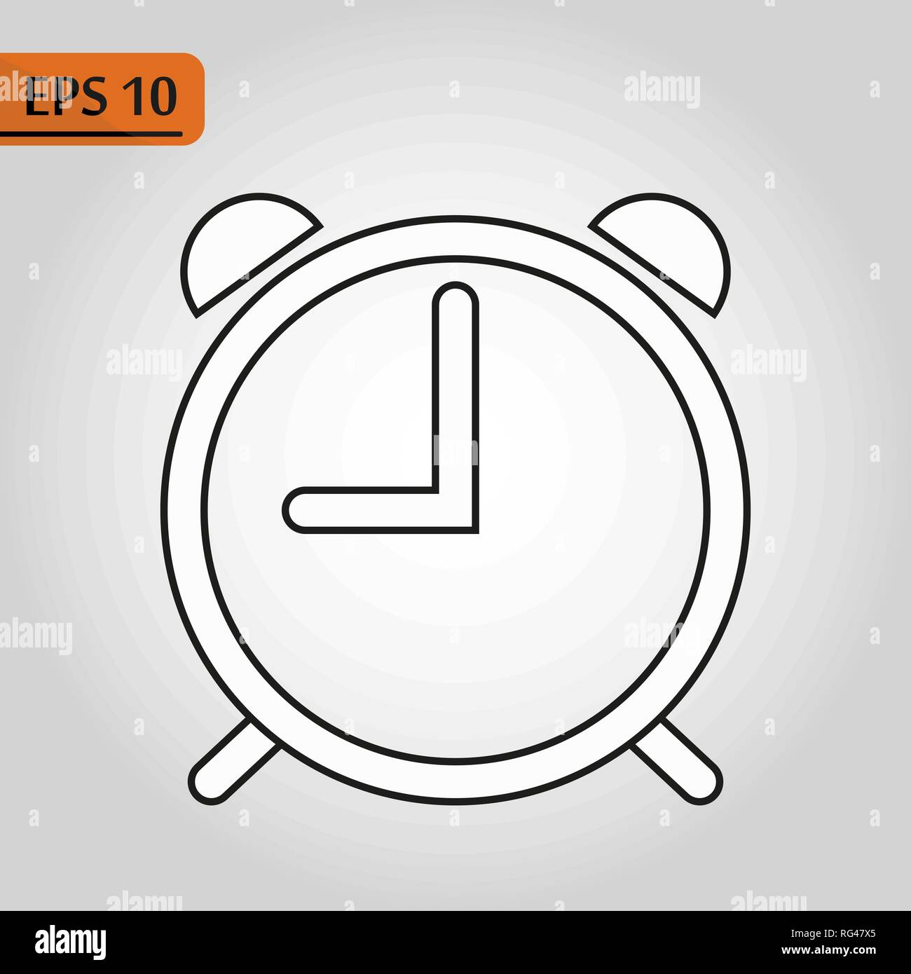 alarm clock icon isolated on white background, simple line outline style,  alarm clock ringing icon modern design ep10
