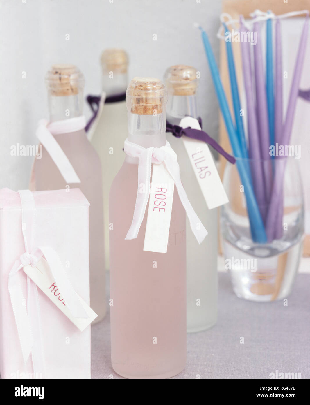 Bottled fragrant waters for presents - Stock Image