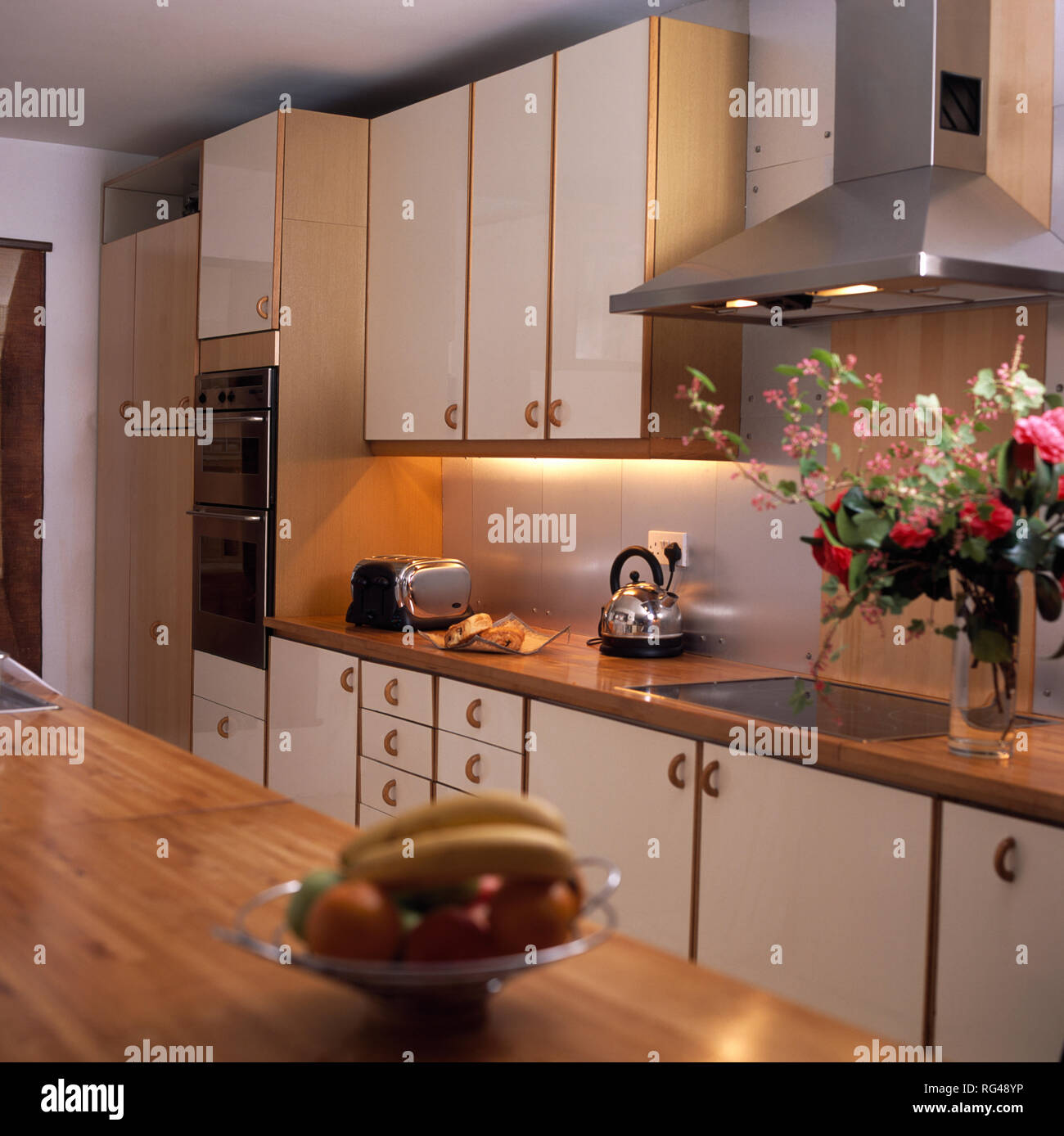 Lighting Below Cabinets In Townhouse Kitchen Stock Photo 233664138