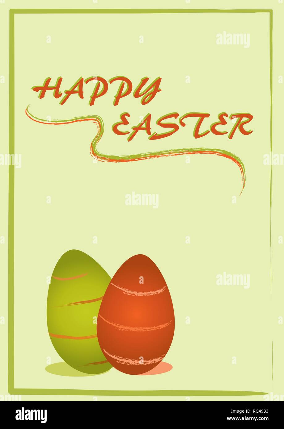 Easter card with striped Easter eggs and the text Happy Easter. Eps 10 vector file - Stock Image