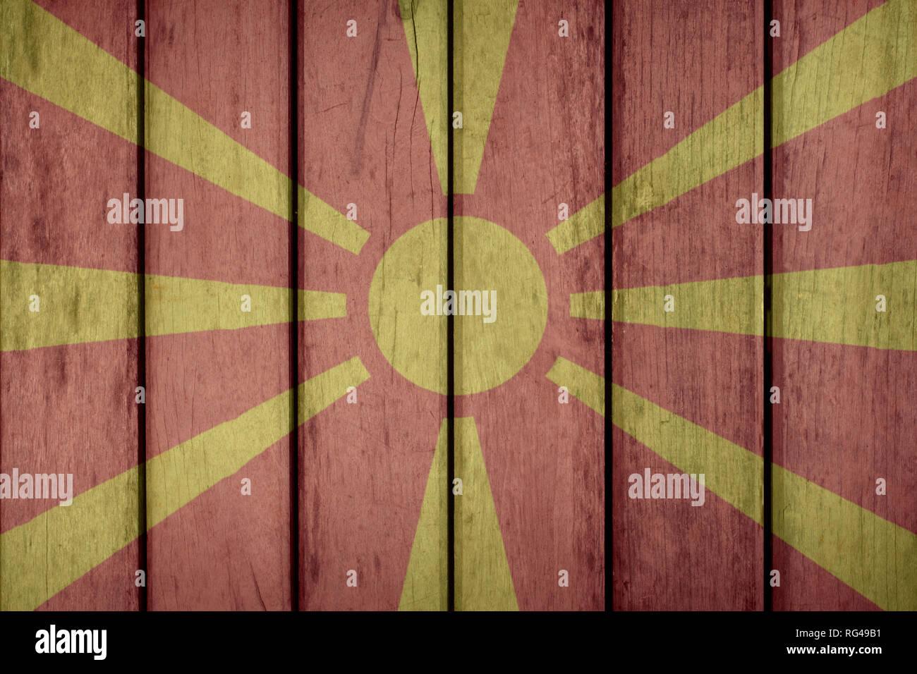 Macedonia Politics News Concept: Macedonian Flag Wooden Fence - Stock Image