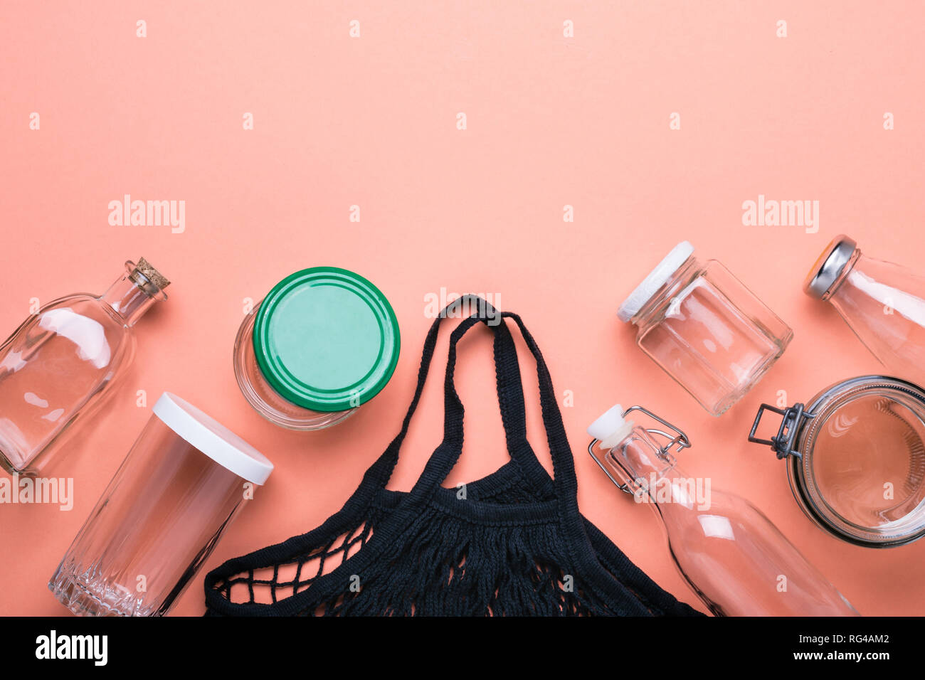Set of jars and cotton mesh bag for zero waste shopping. - Stock Image