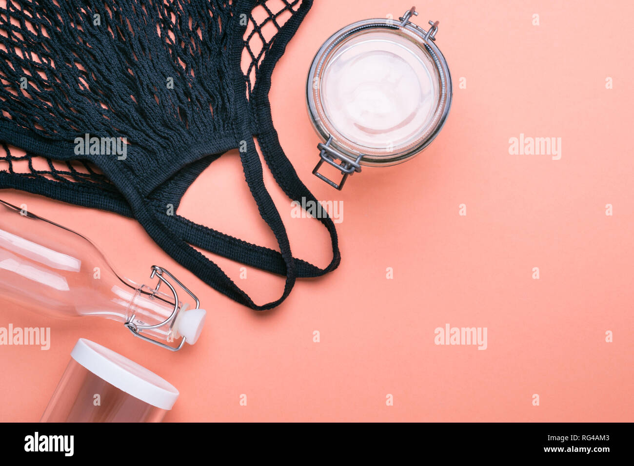 Set of jars and bag for zero waste shopping. - Stock Image