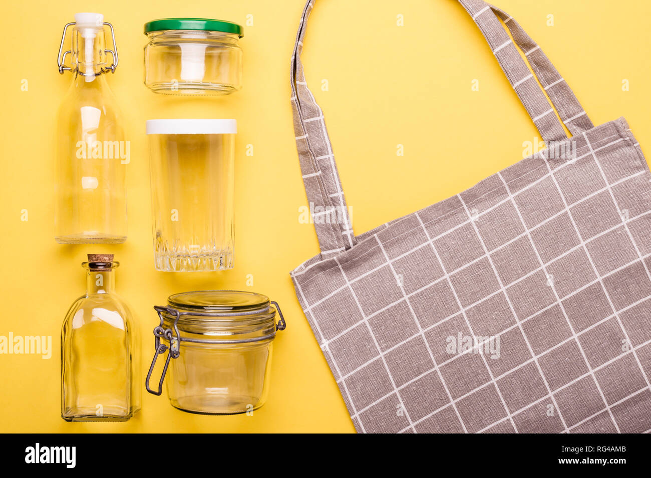 Set of jars and textile bag for zero waste shopping. - Stock Image