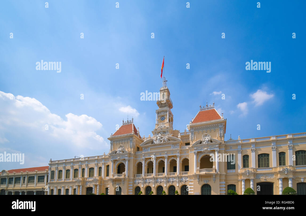 The Ho Chi Minh City Hall or Ho Chi Minh City People's Committee in a sunny day. Ho Chi Minh City, Viet Nam Stock Photo
