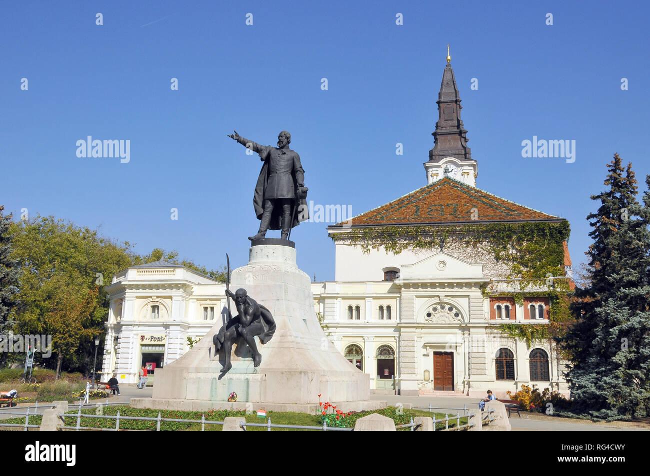 Statue of Lajos Kossuth in Kecskemét, Hungary. - Stock Image
