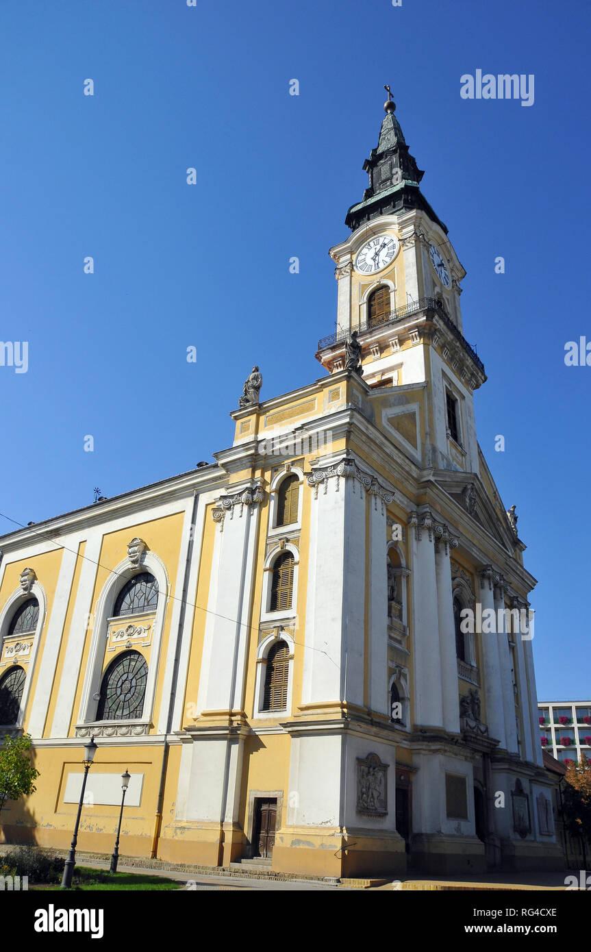 The Baroque Great Church (Nagytemplom) in Kecskemet, Hungary. - Stock Image