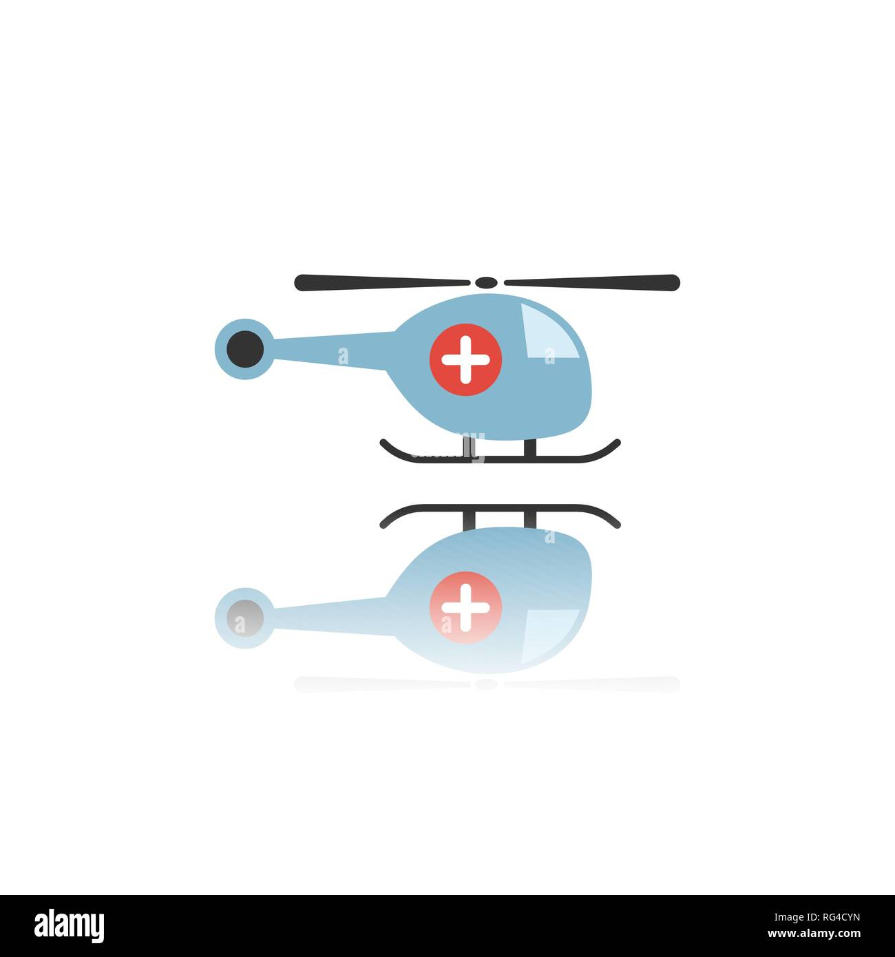 Emergency helicopter icon with reflection. Isolated vector illustration - Stock Image
