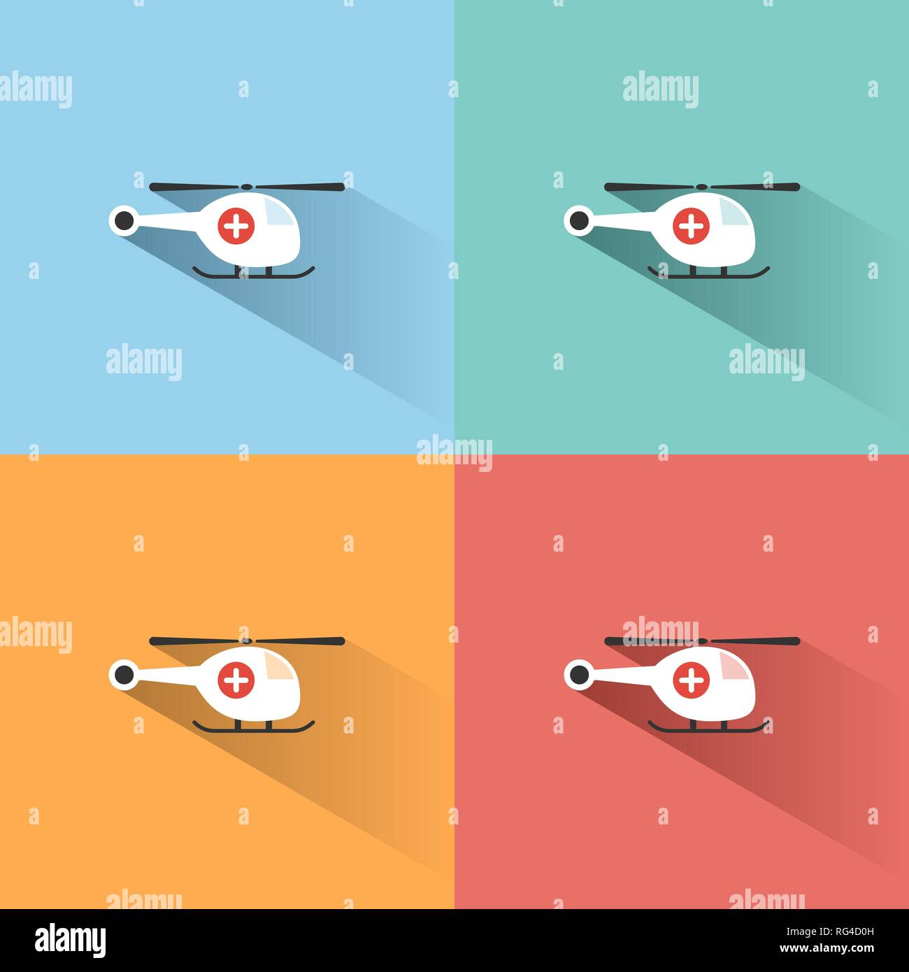 Emergency helicopter icon with shade on colored backgrounds. Vector illustration - Stock Vector
