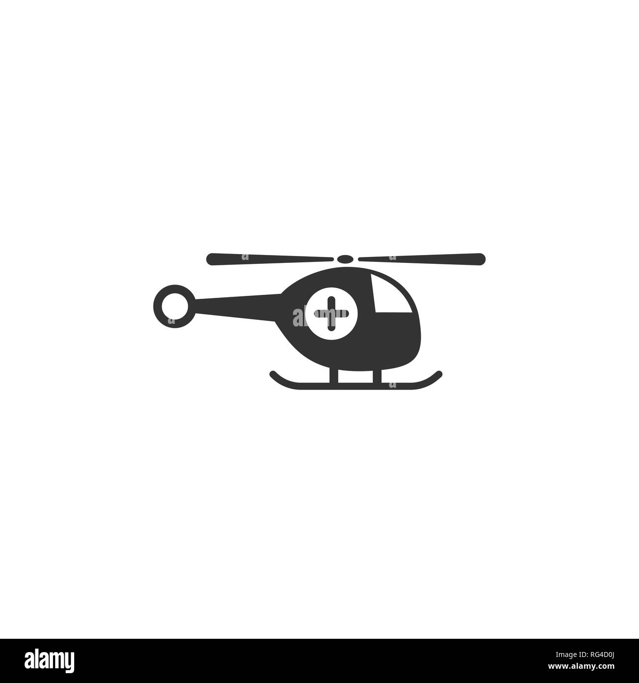 Emergency helicopter icon. Isolated vector illustration - Stock Image