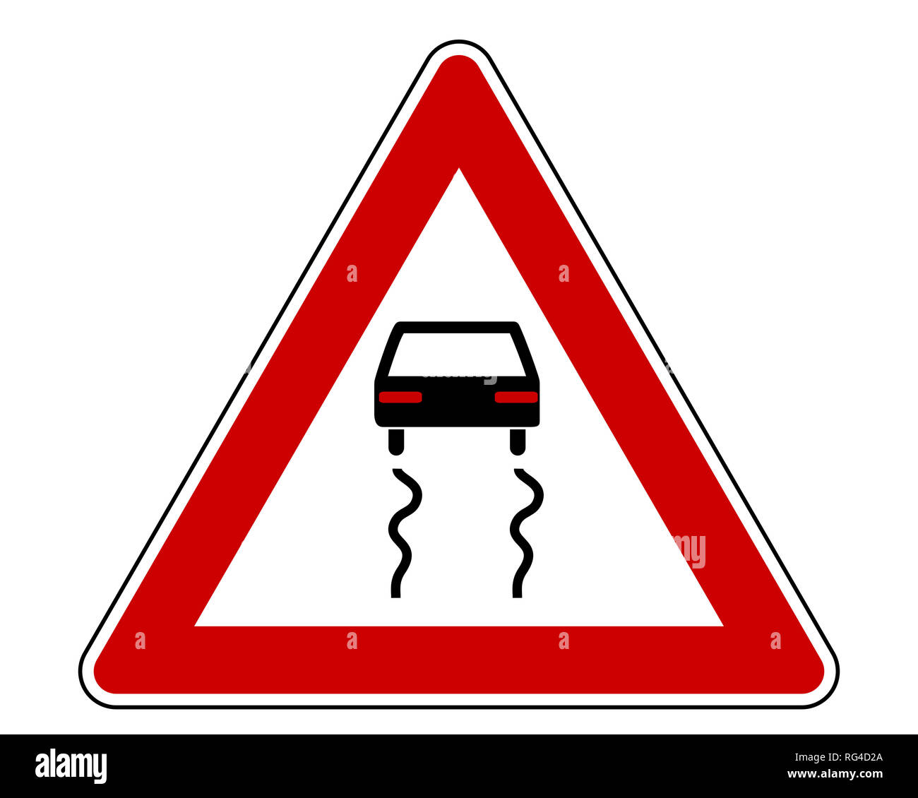 Traffic sign with car - Stock Image
