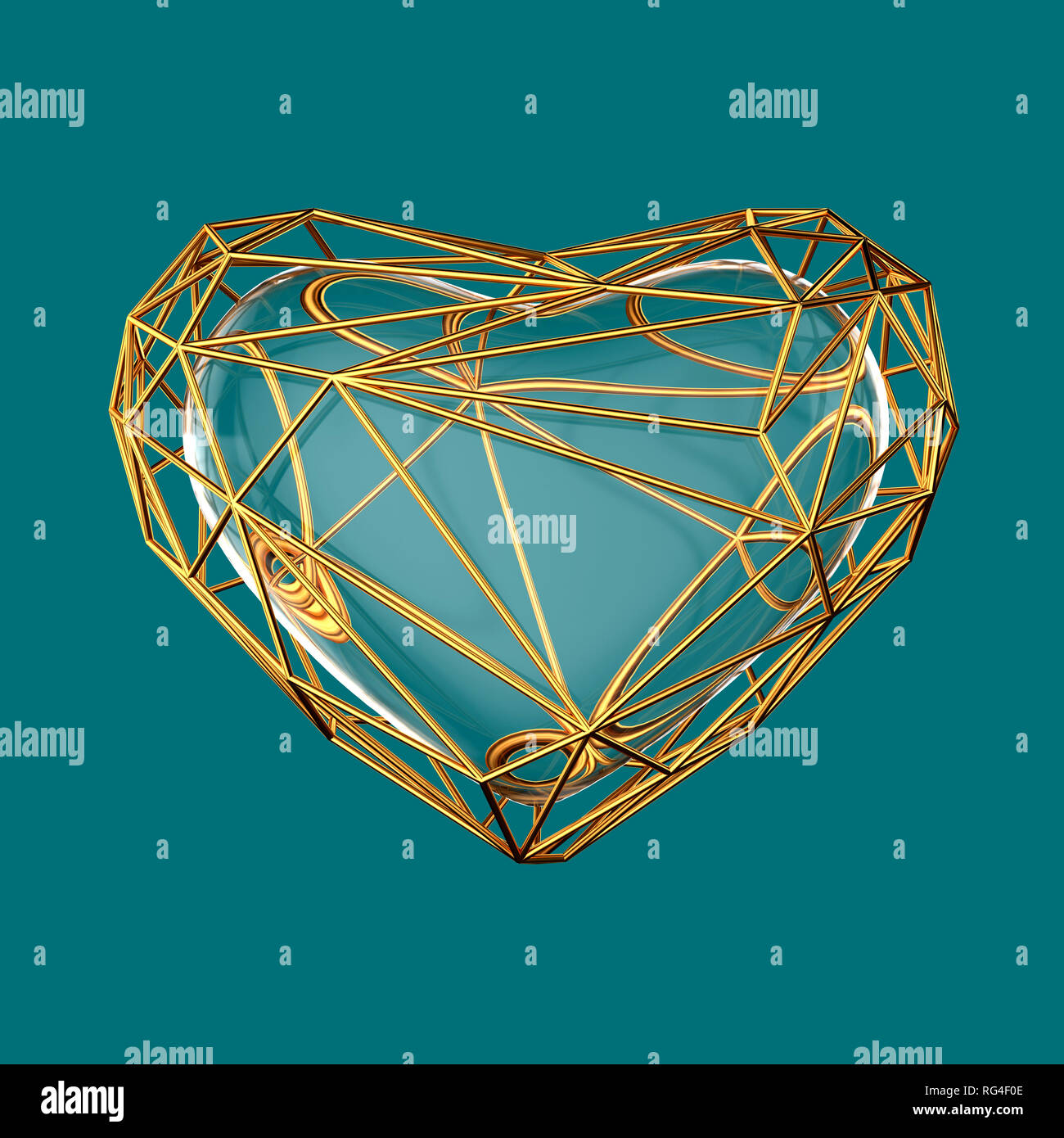 Polygonal golden heart on blue background. Valentines day - Stock Image