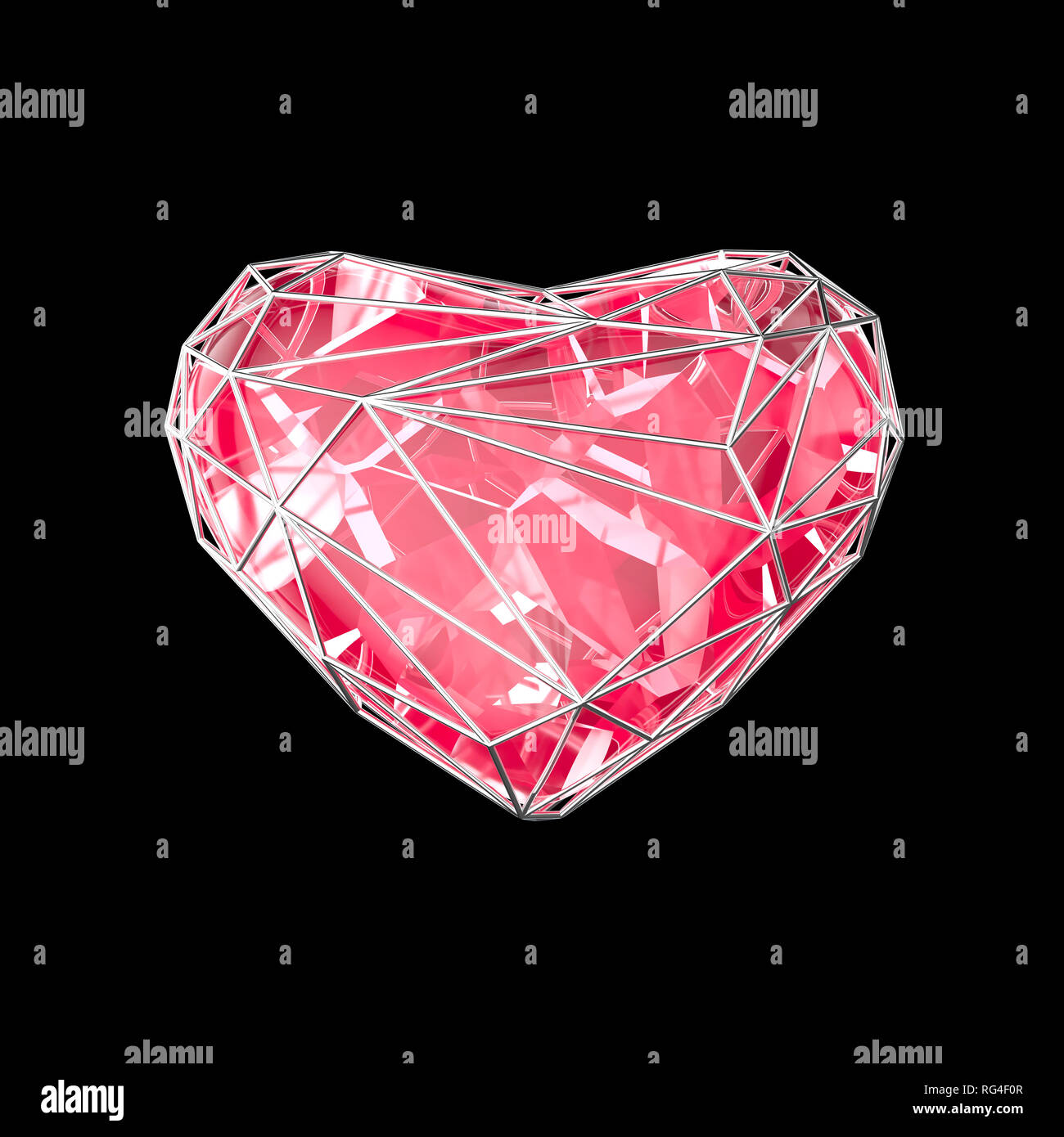 Crystal pink heart in silver setting on black background - Stock Image