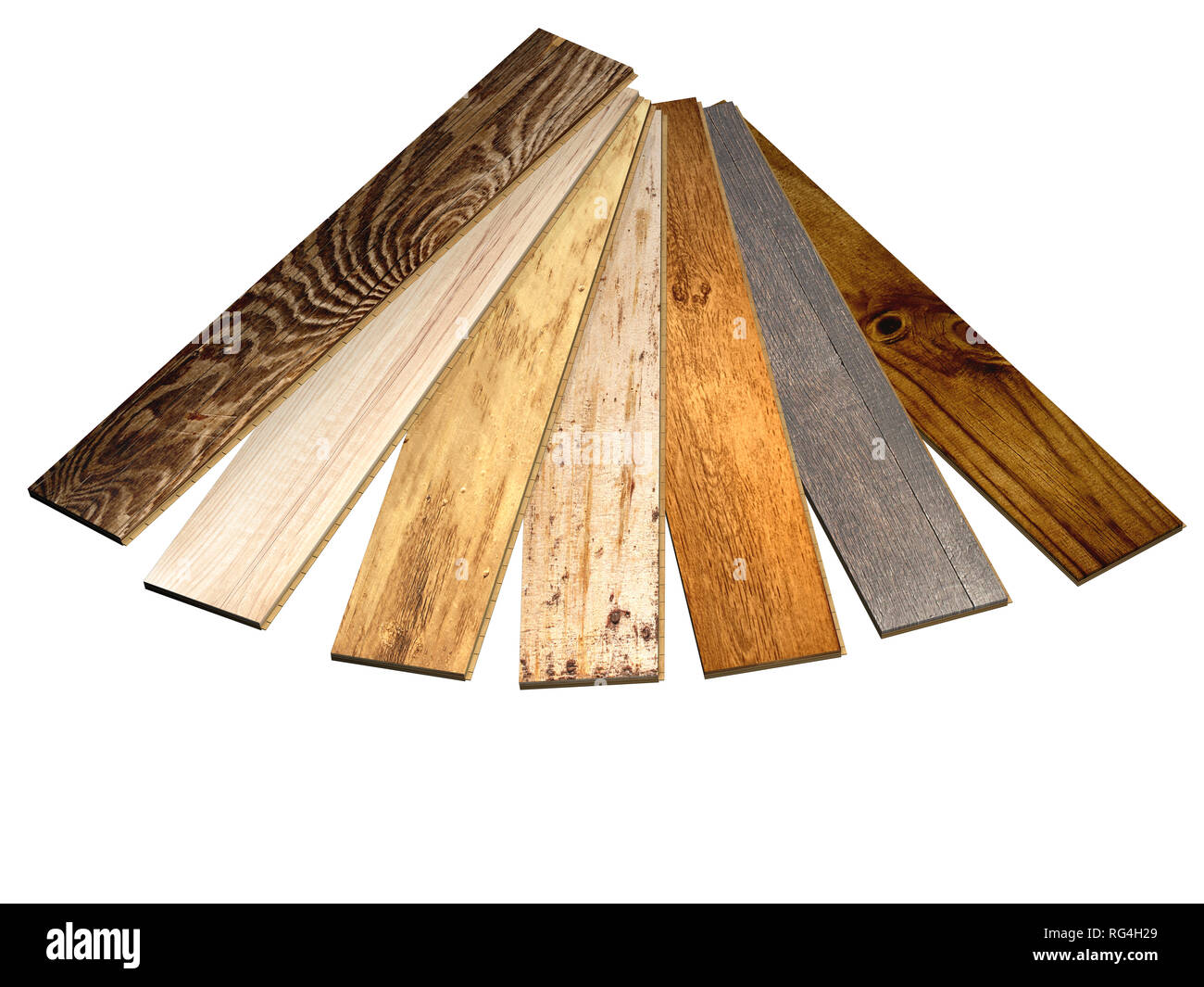 Planks of new parquet of different colors. Isolated on white background. 3d render - Stock Image