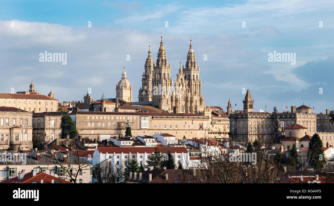 Santiago de Compostela panoramic view. Way of St. James pilgrimage. Unesco world heritage city. Galicia, Spain Stock Photo